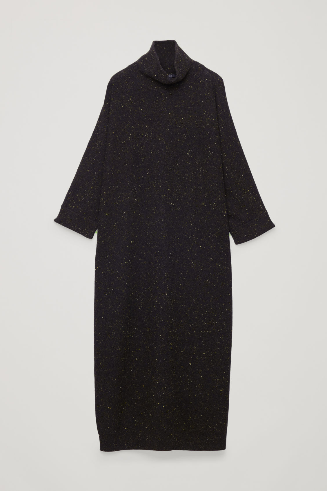 Front image of Cos speckled high-neck dress in black