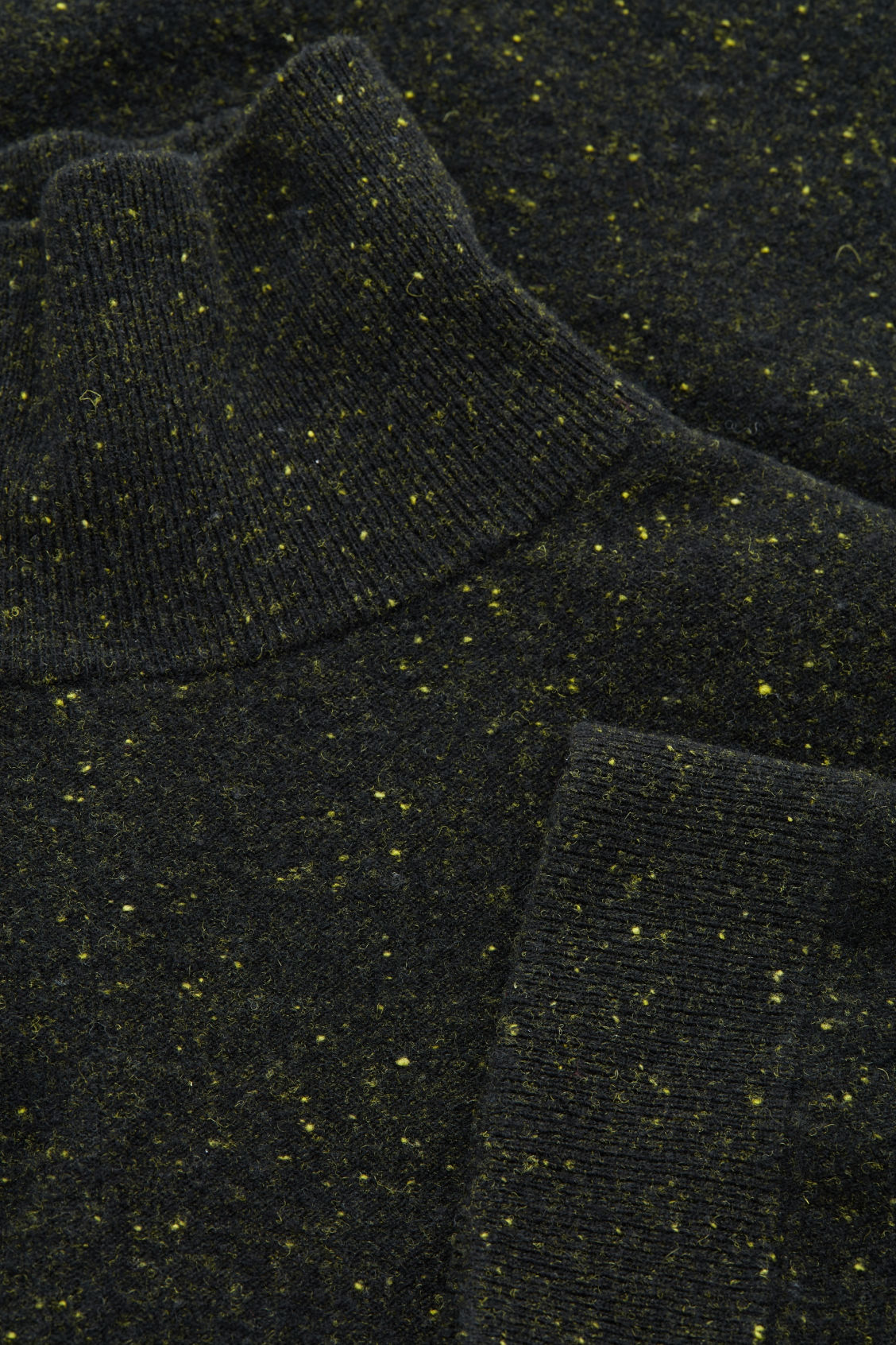 Side image of Cos speckled high-neck dress in black