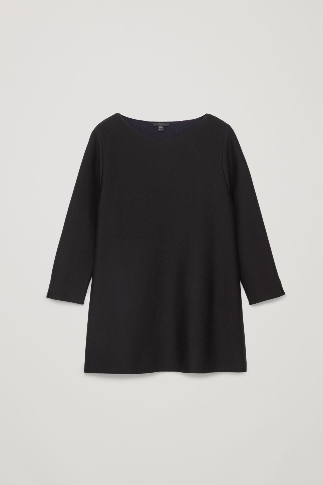 Front image of Cos a-line merino jumper in black