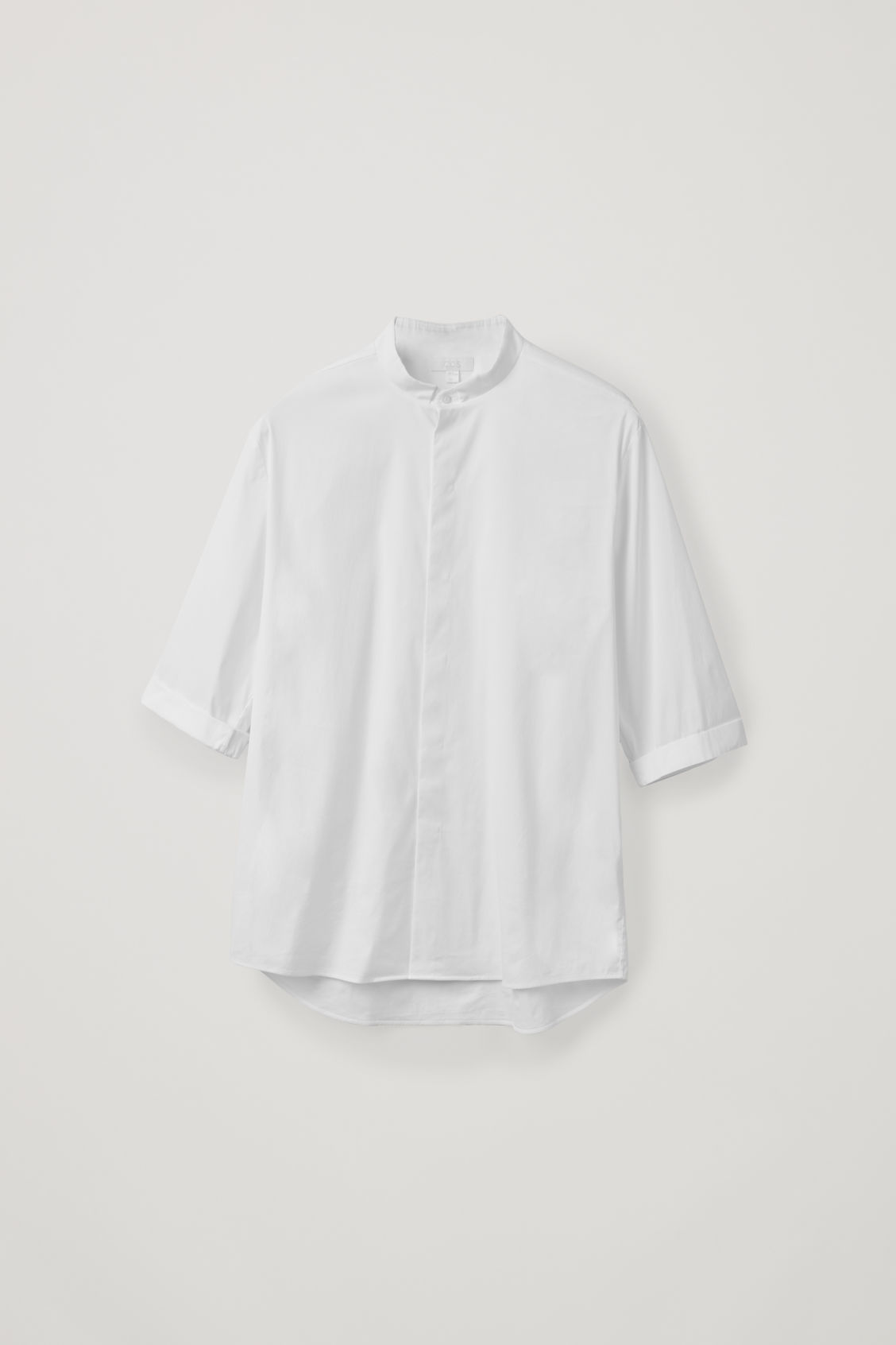 Front image of Cos 3/4-sleeved grandad shirt in white