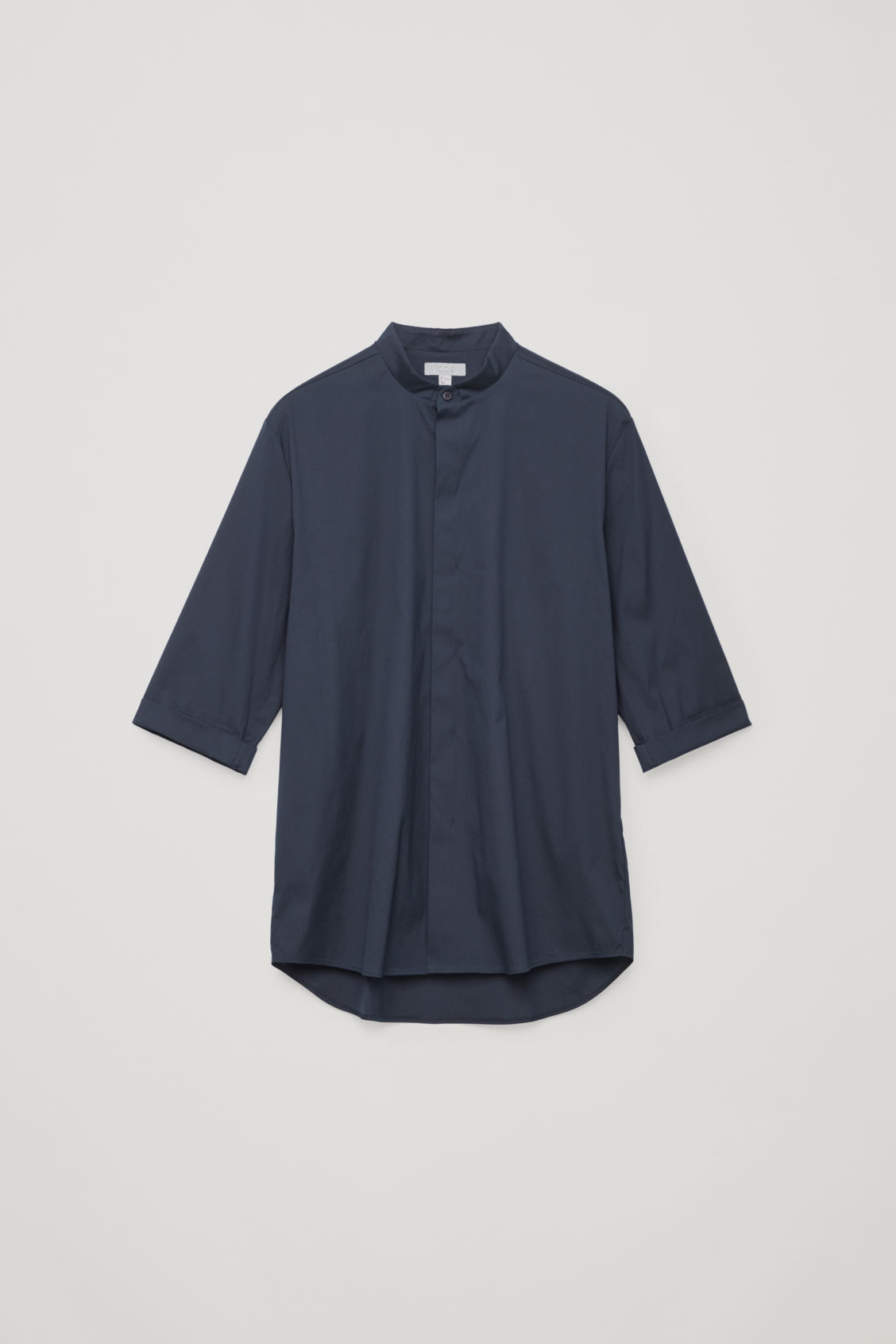 Front image of Cos 3/4-sleeved grandad shirt in blue