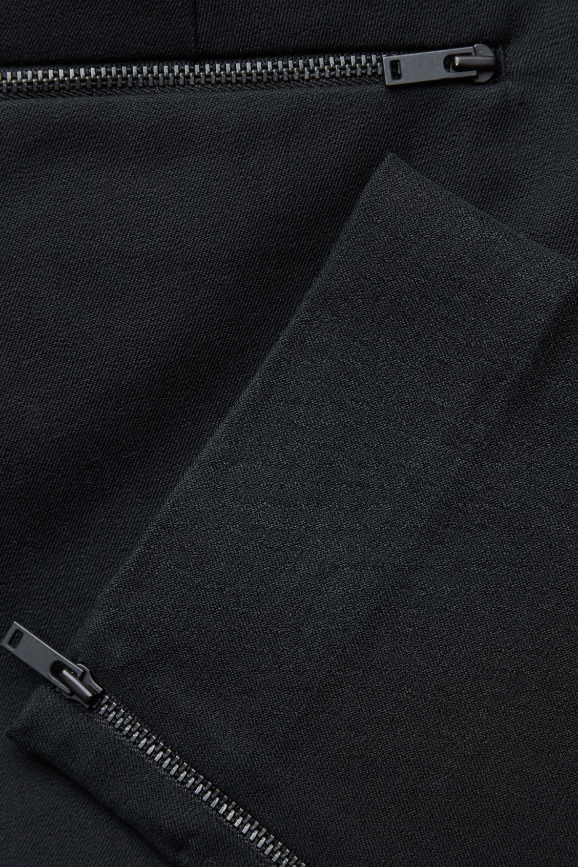 Side image of Cos slim-fit trousers with ankle zips  in black