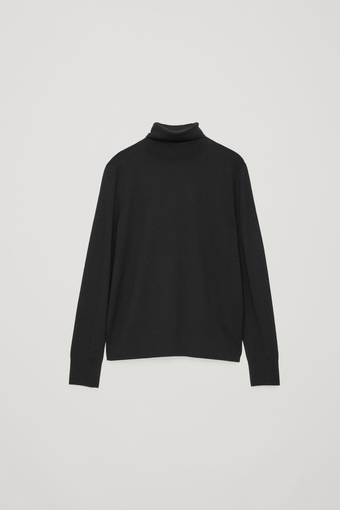 Front image of Cos roll-neck merino jumper in black