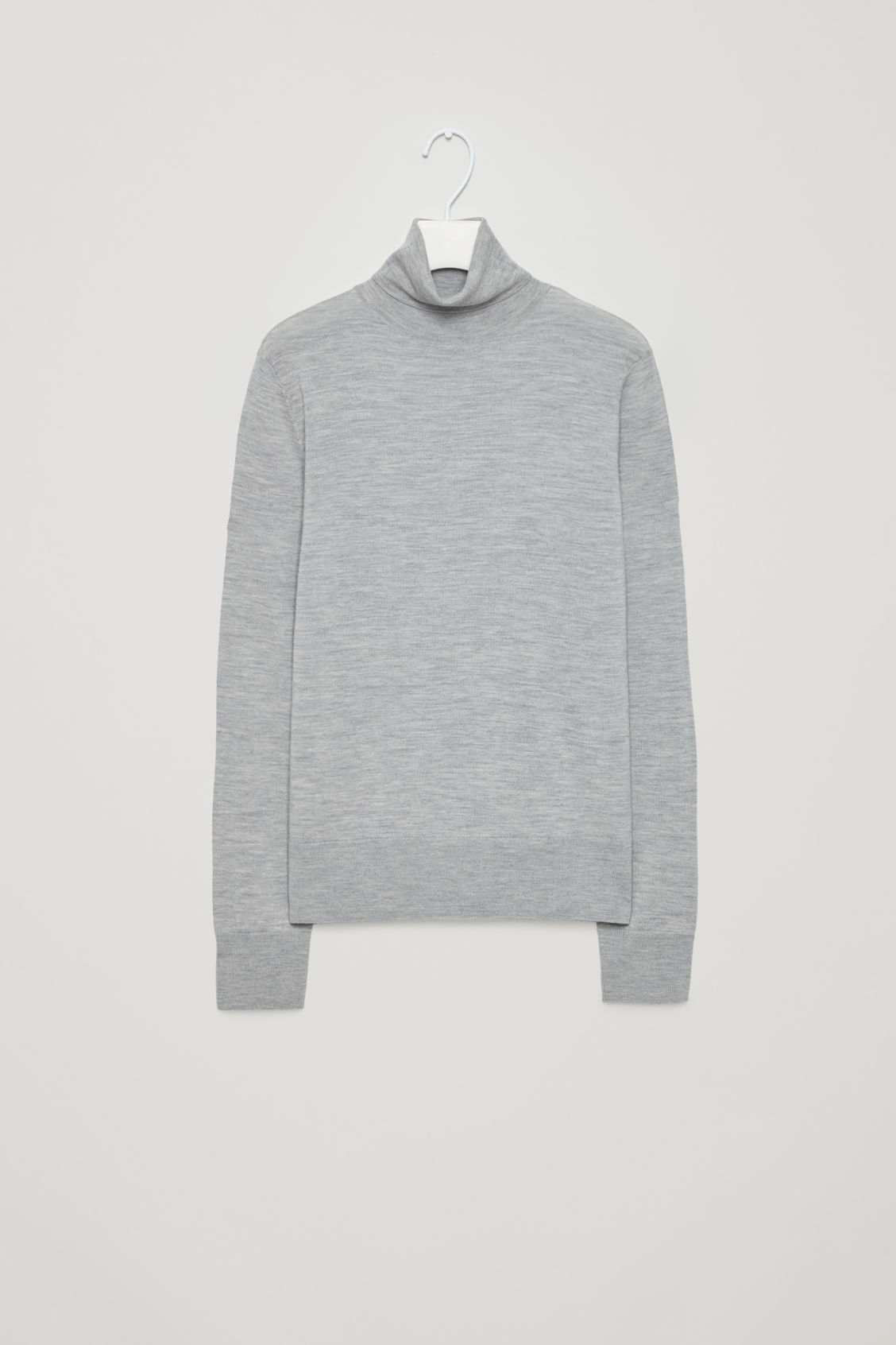 Front image of Cos roll-neck merino jumper in grey