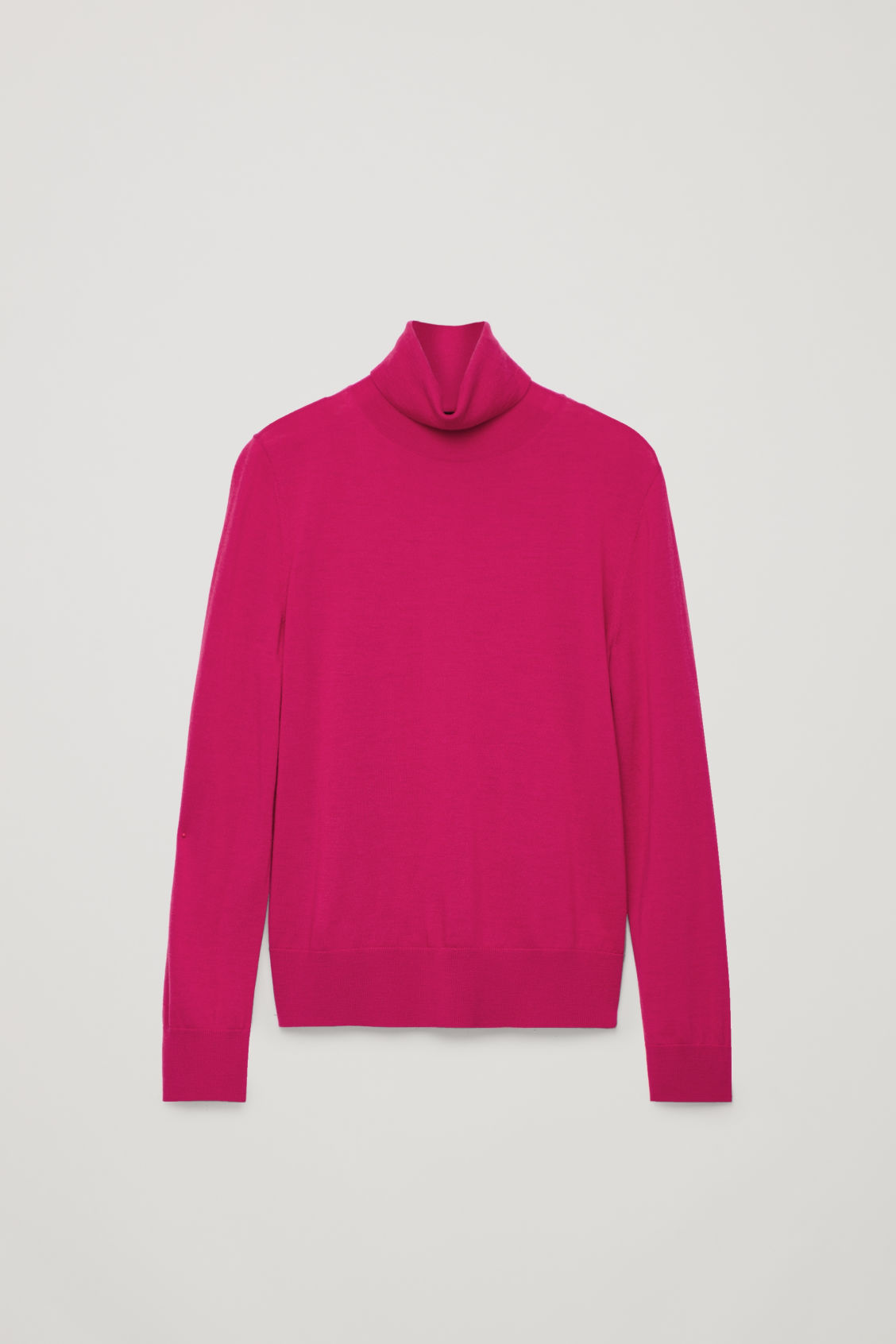 Front image of Cos merino roll-neck jumper in pink