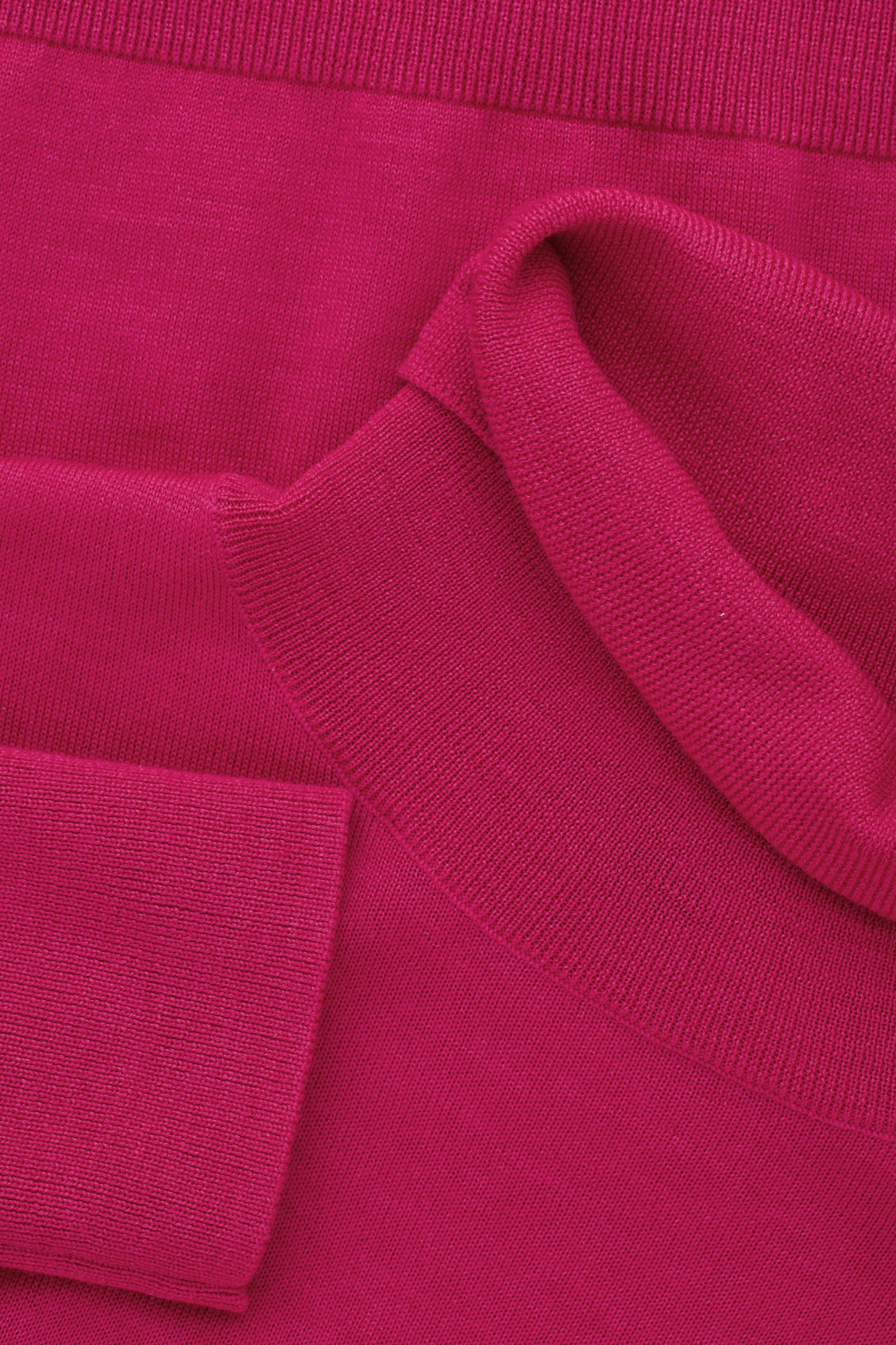 Side image of Cos merino roll-neck jumper in pink