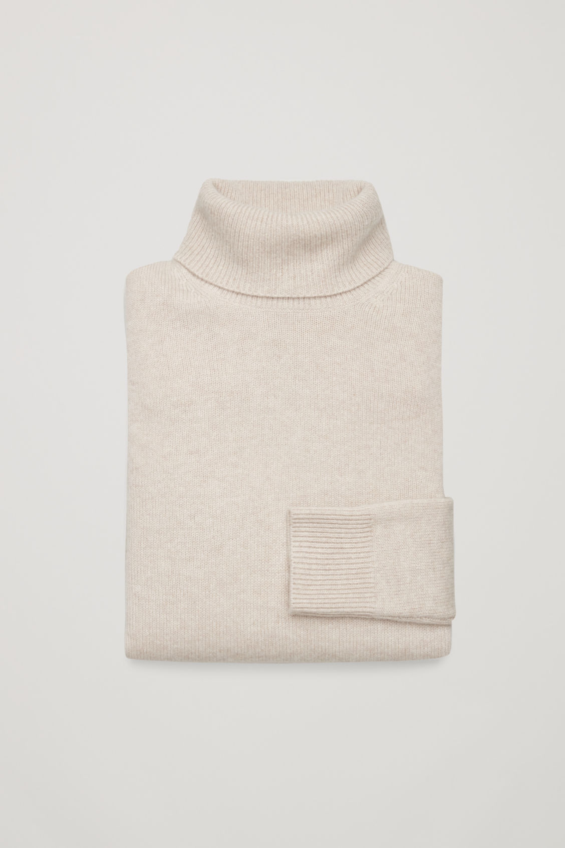 Side image of Cos high-neck cashmere jumper in beige