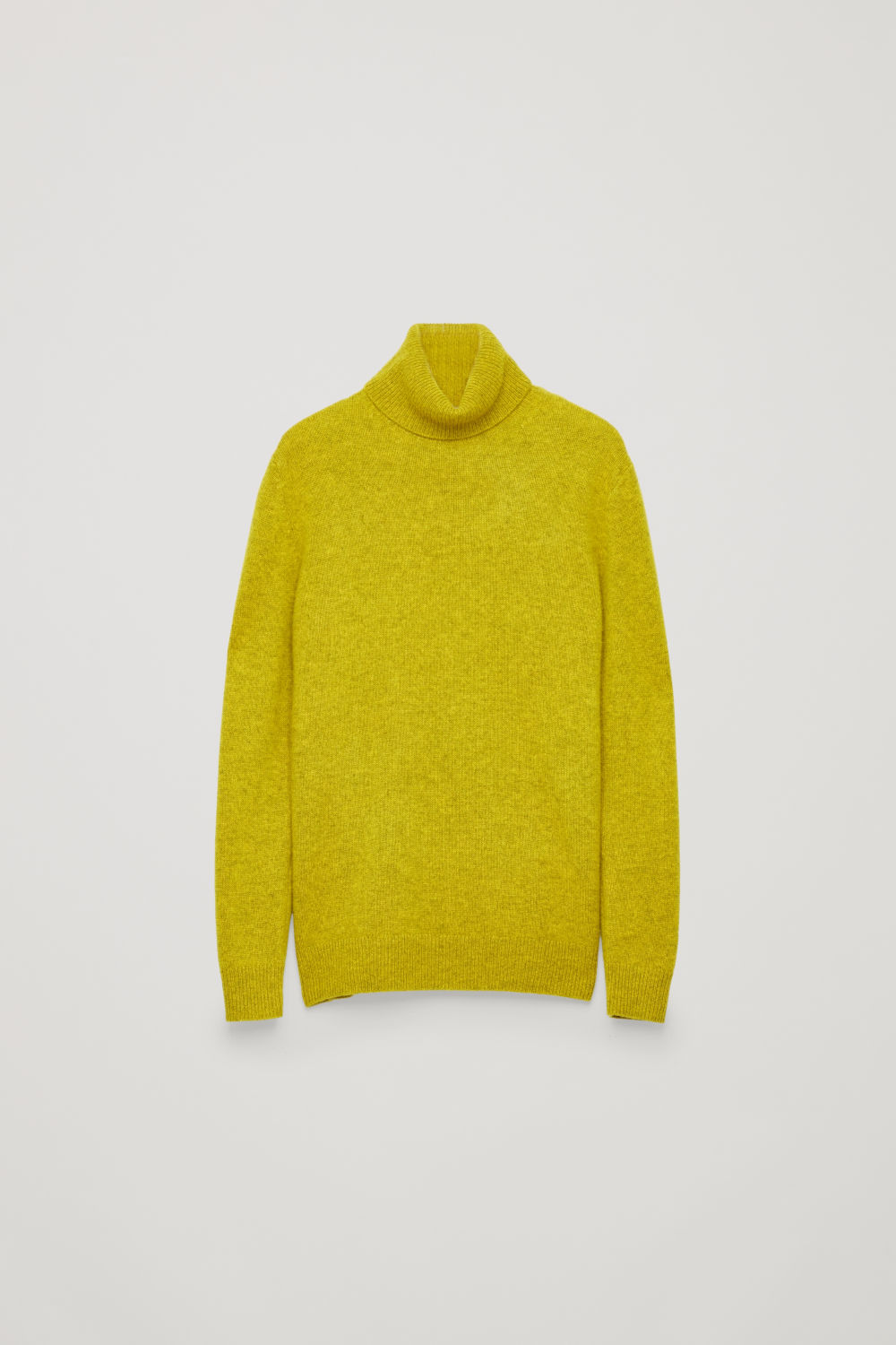 Front image of Cos high-neck cashmere jumper in yellow