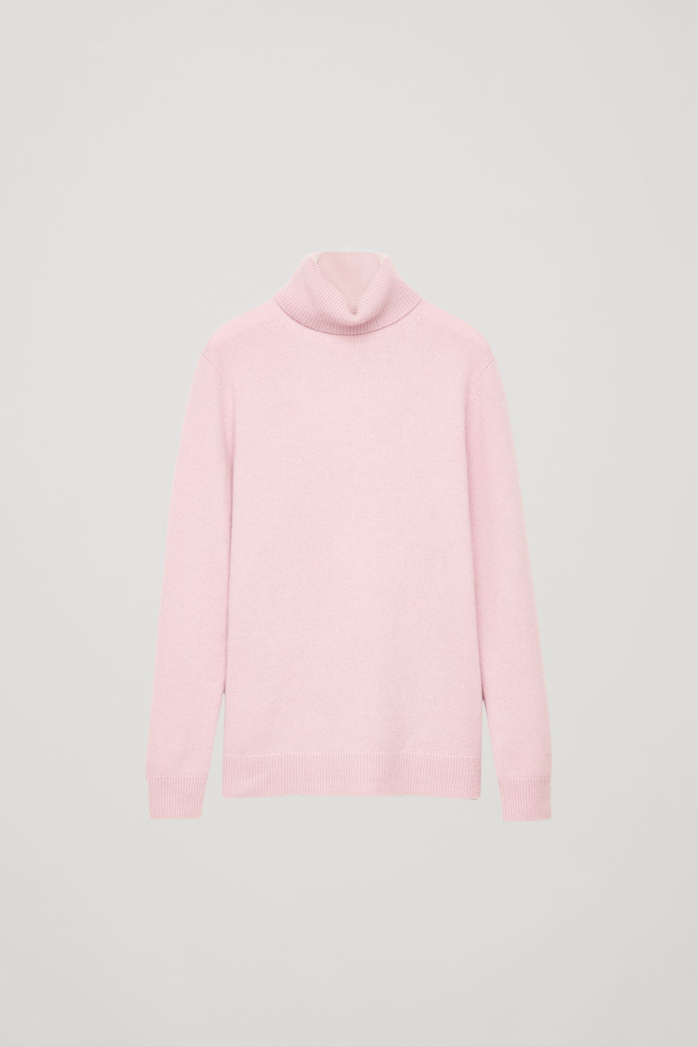 Front image of Cos high-neck cashmere jumper in pink