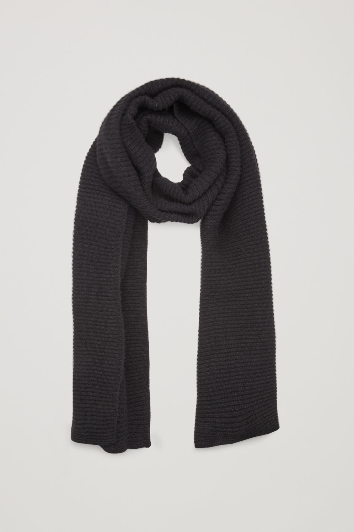 Front image of Cos ribbed cashmere scarf in black