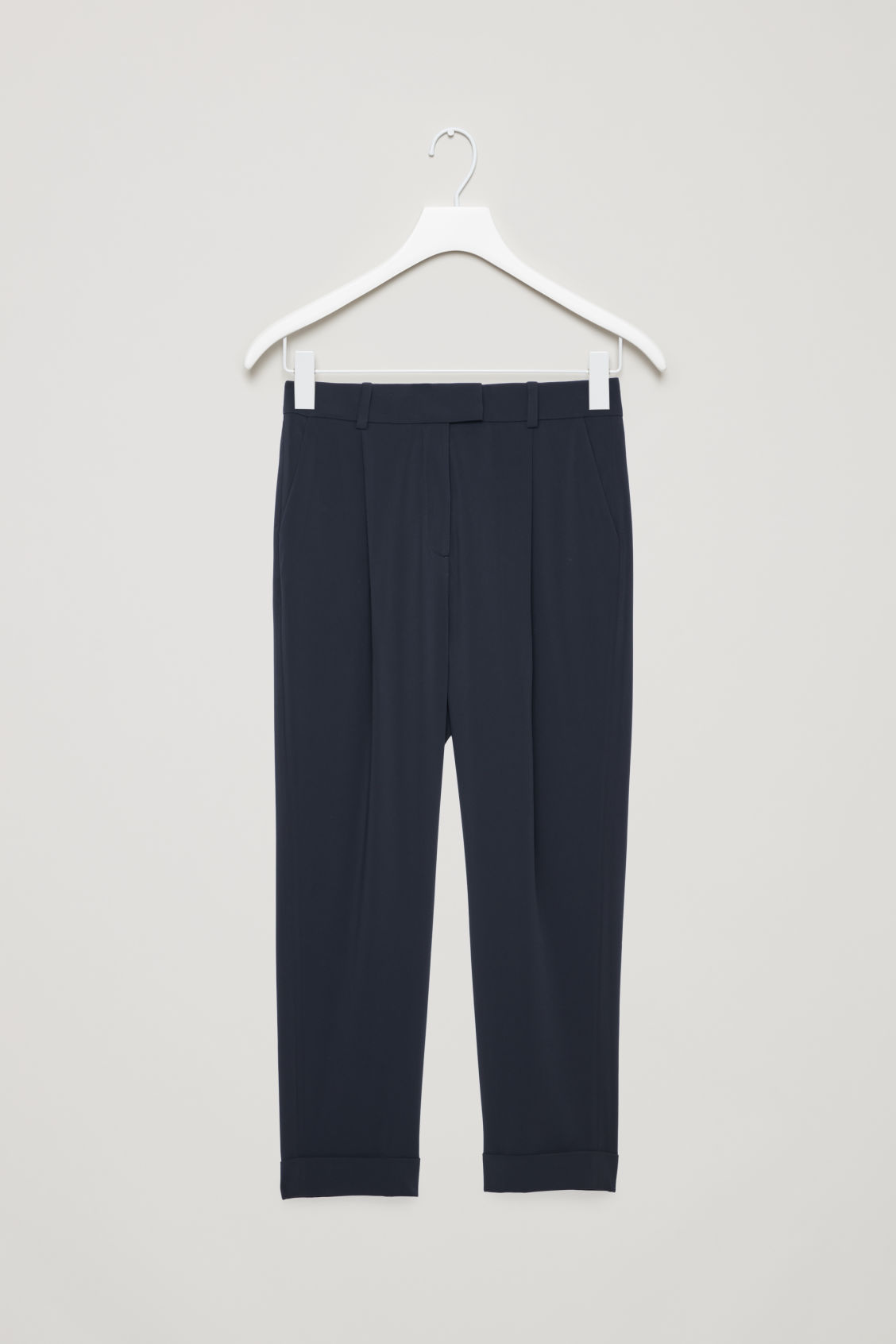 Front image of Cos tailored pleat trousers in blue