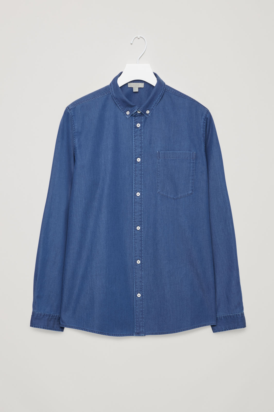 Front image of Cos denim shirt in turquoise