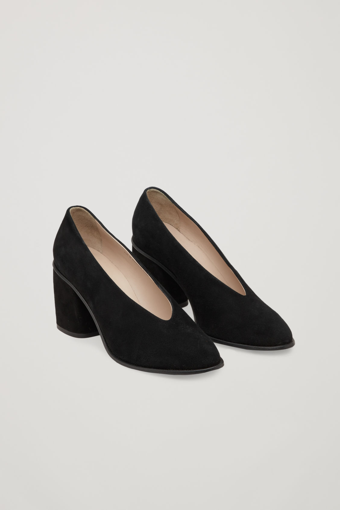 Front image of Cos chunky heel pumps in black