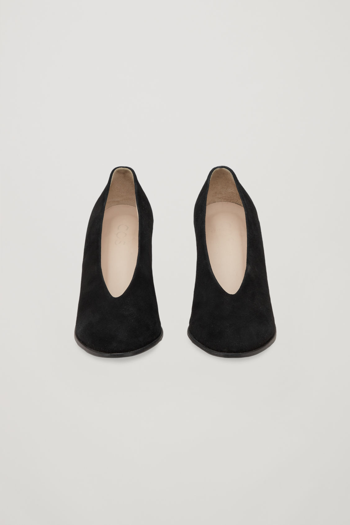 Side image of Cos chunky heel pumps in black