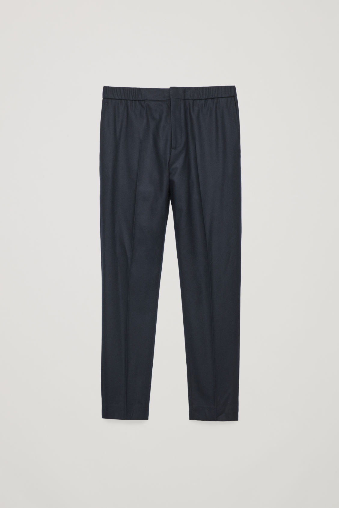 Front image of Cos slim drawstring trousers in blue