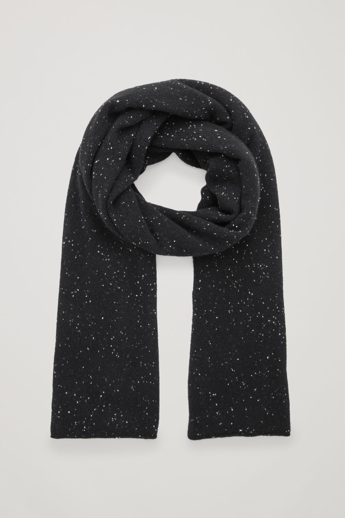 Front image of Cos speckled cashmere scarf in black
