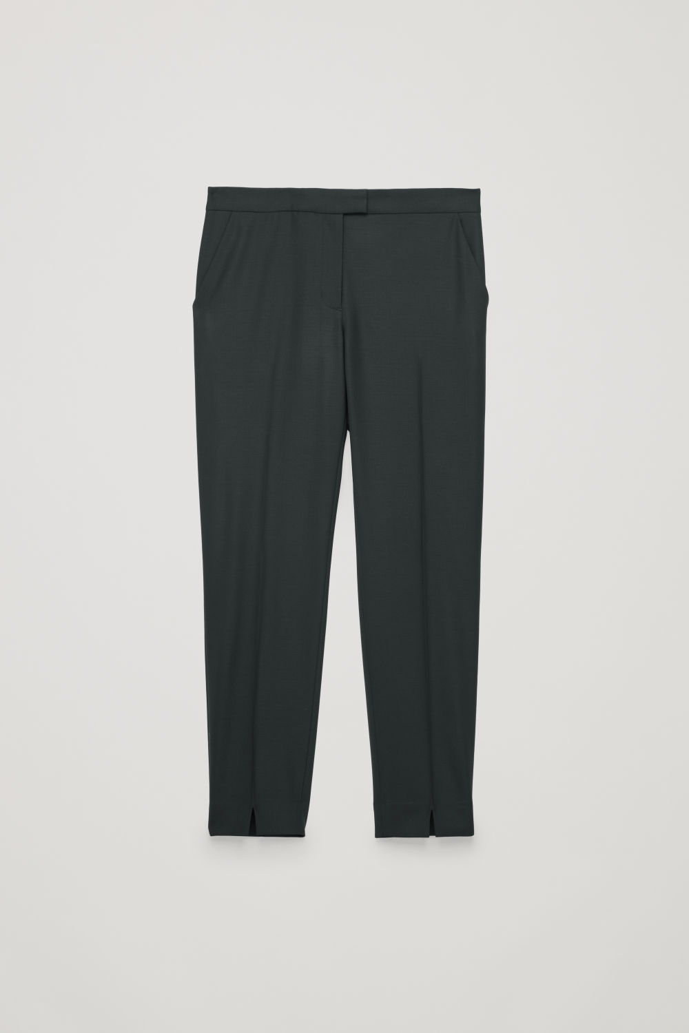 Front image of Cos tailored slim-fit trousers in black