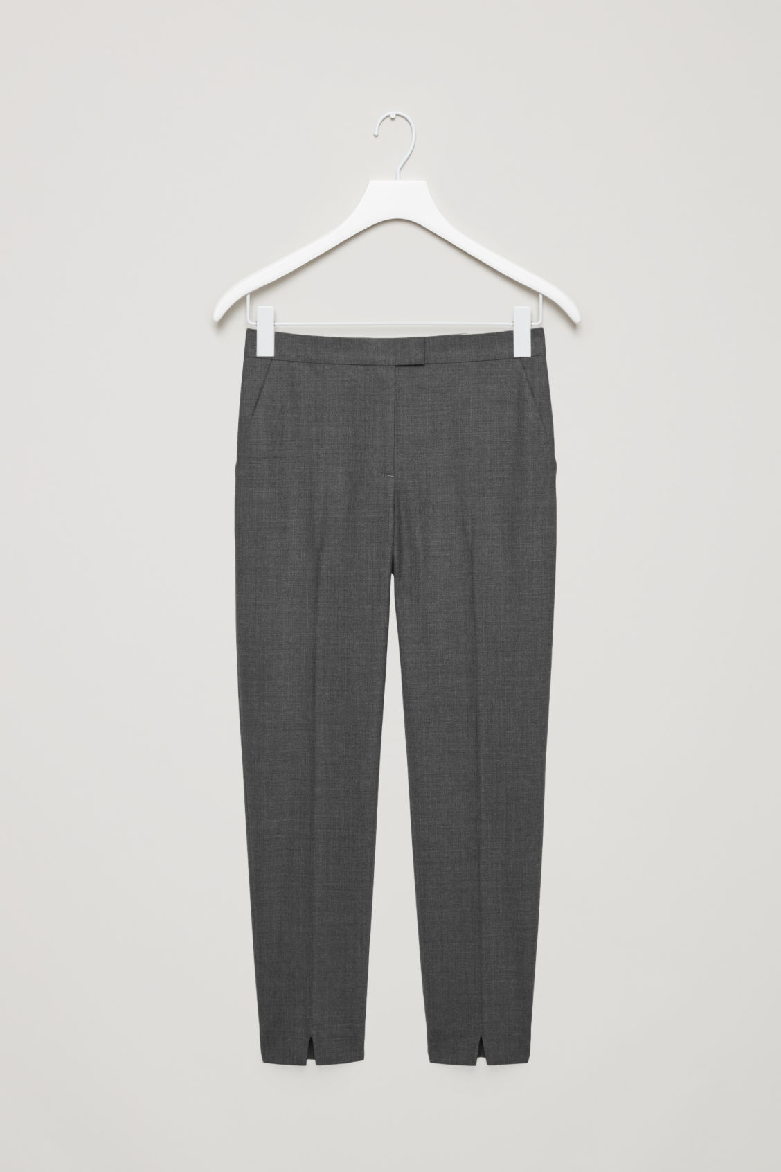 Front image of Cos tailored slim-fit trousers in grey