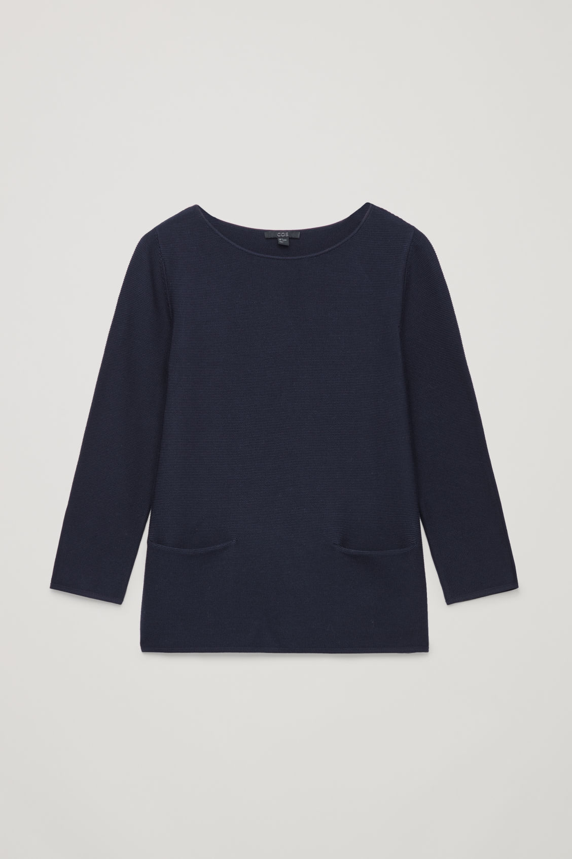 Front image of Cos a-line cotton knitted top in blue