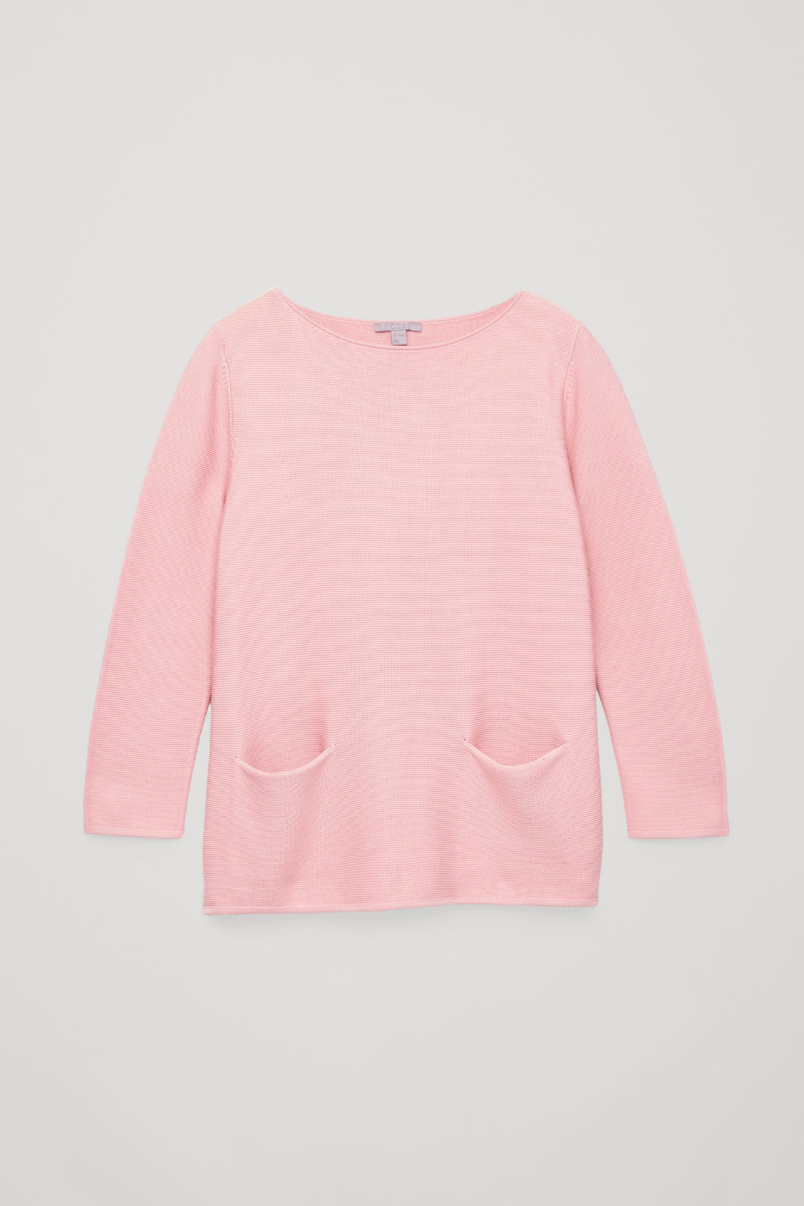 Front image of Cos a-line cotton knitted top in pink