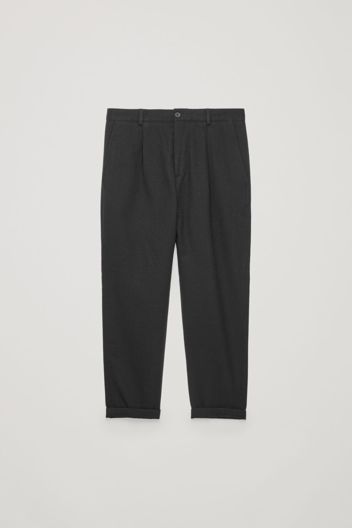 Front image of Cos relaxed crepe wool trousers in black