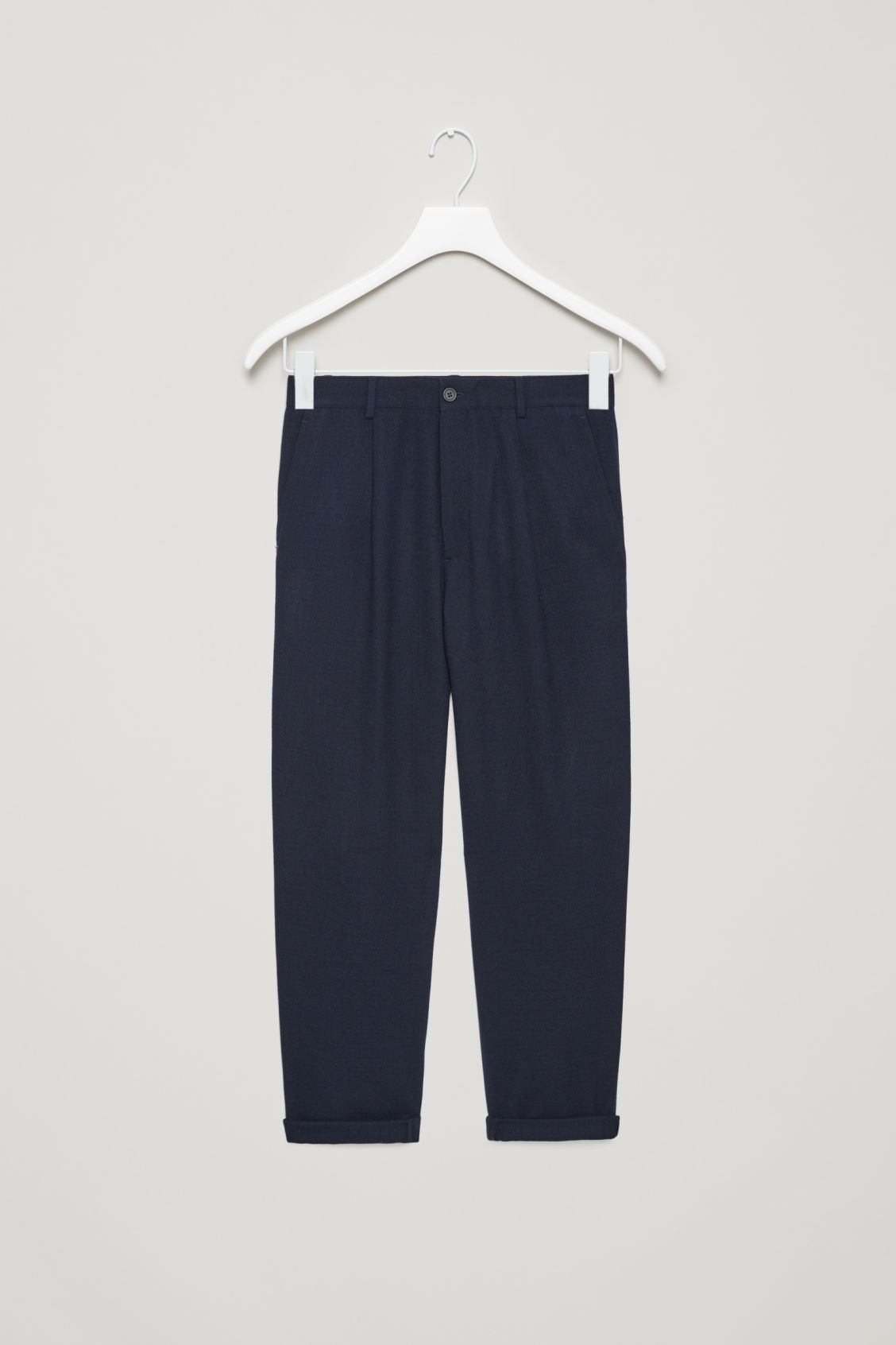 Front image of Cos relaxed crepe wool trousers in blue