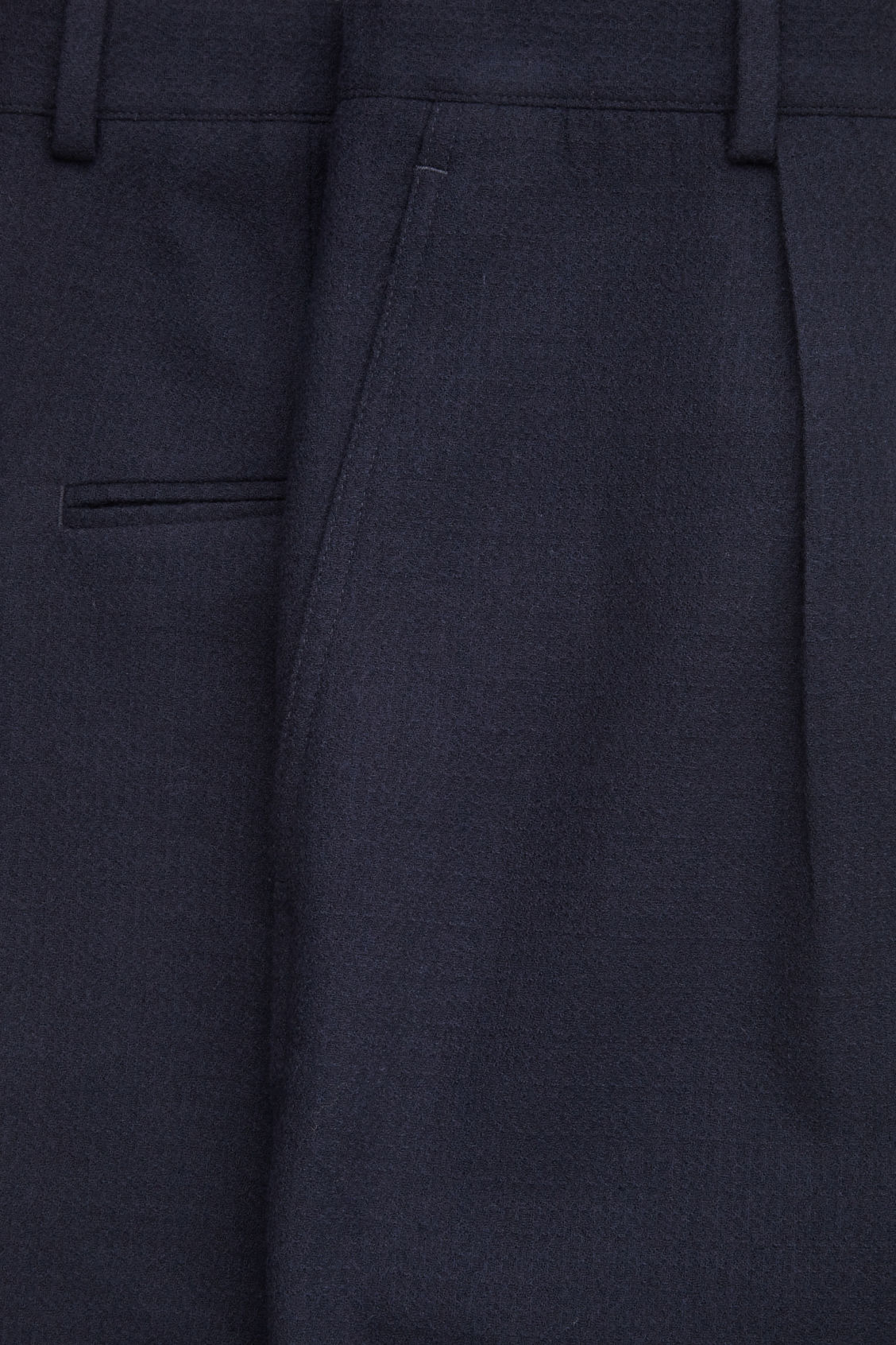 Side image of Cos relaxed crepe wool trousers in blue