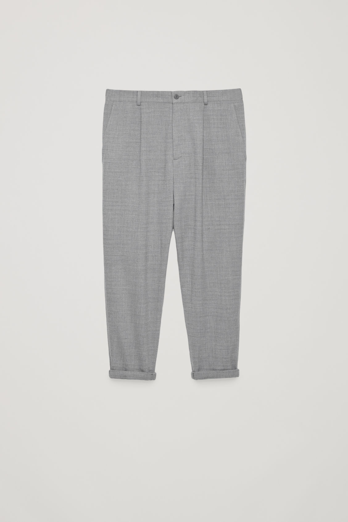 Front image of Cos relaxed crepe wool trousers in grey