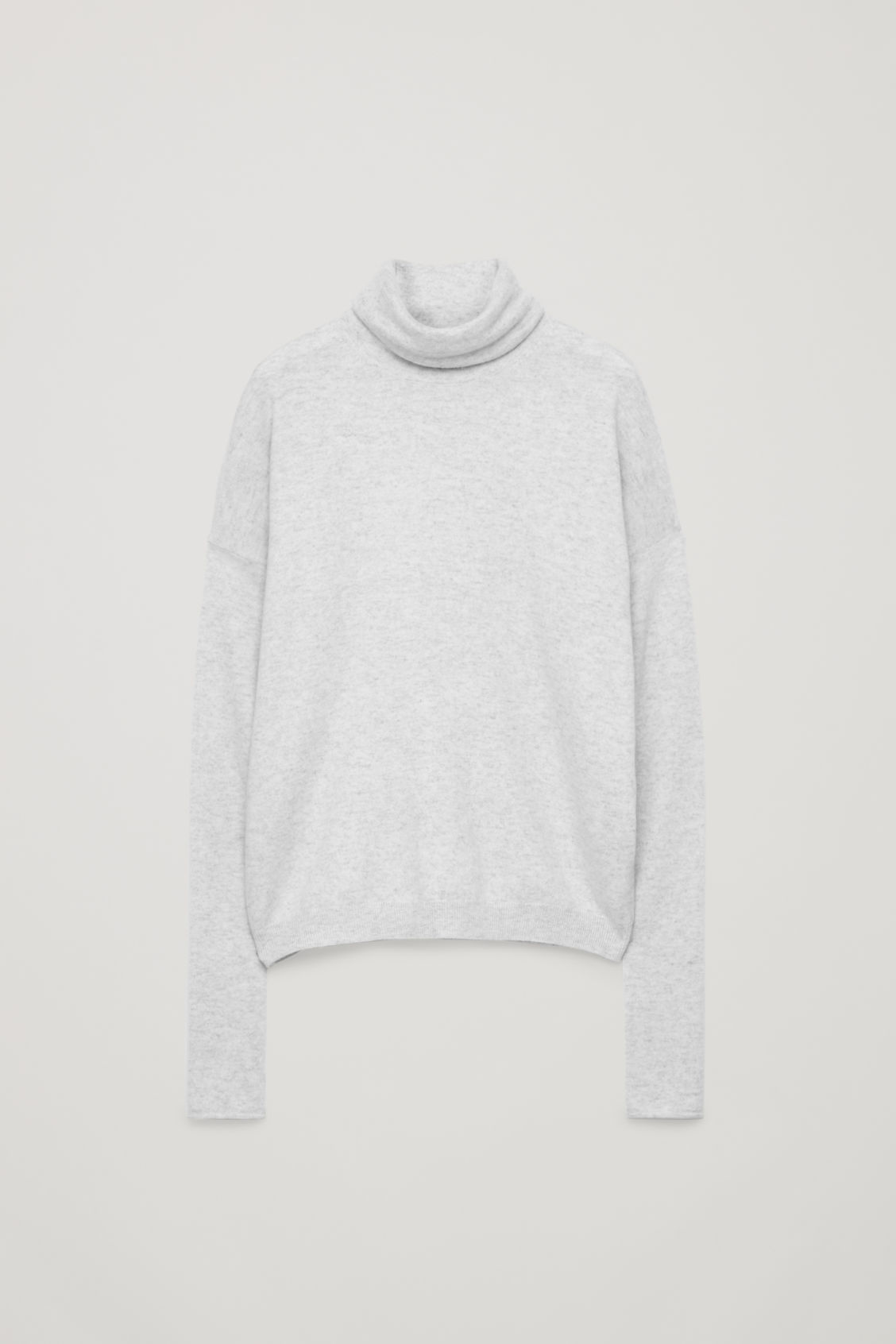 Front image of Cos roll-neck cashmere jumper in grey