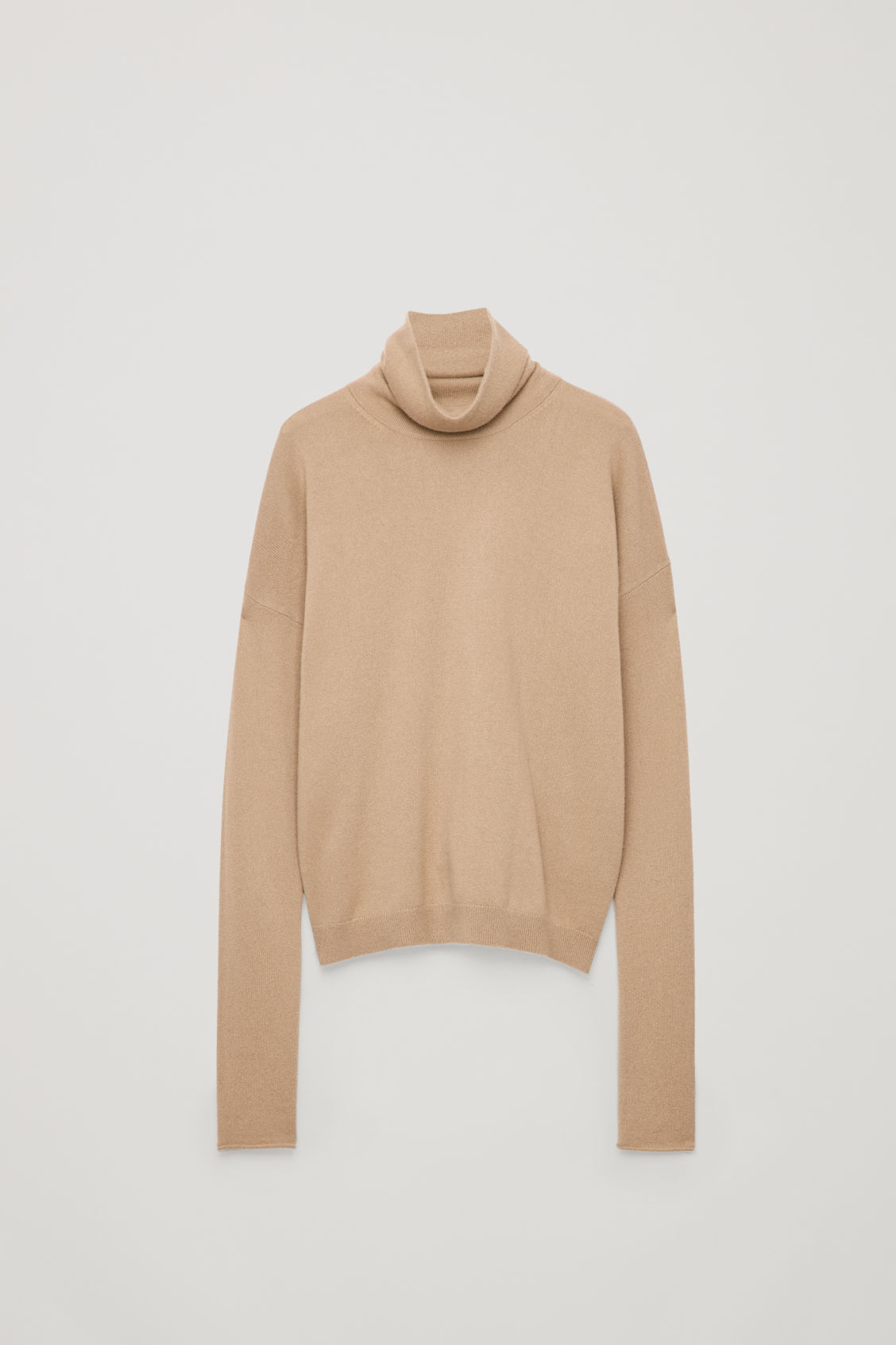 Front image of Cos roll-neck cashmere jumper in beige