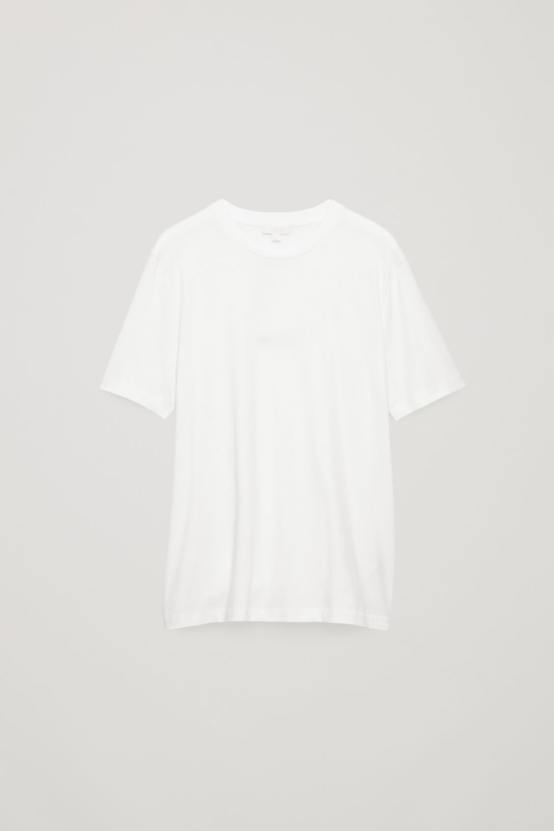 Front image of Cos t-shirt with rib neck in white