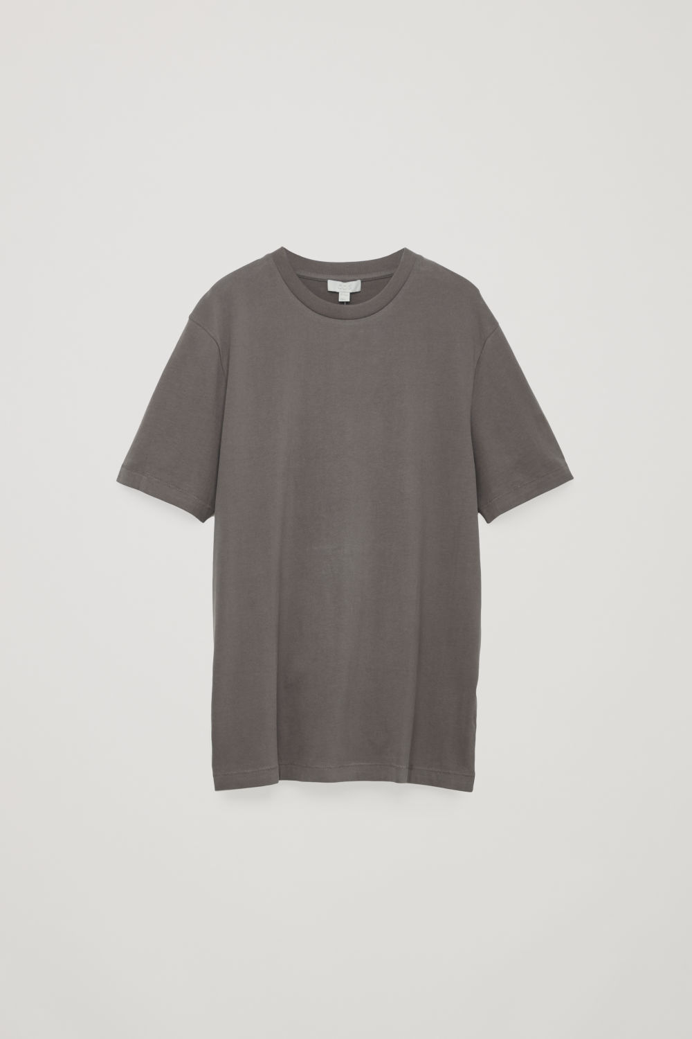 Front image of Cos t-shirt with rib neck in beige