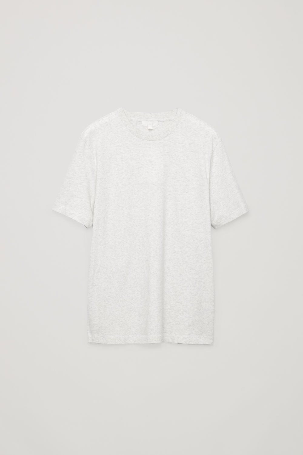 Front image of Cos t-shirt with rib neck in grey