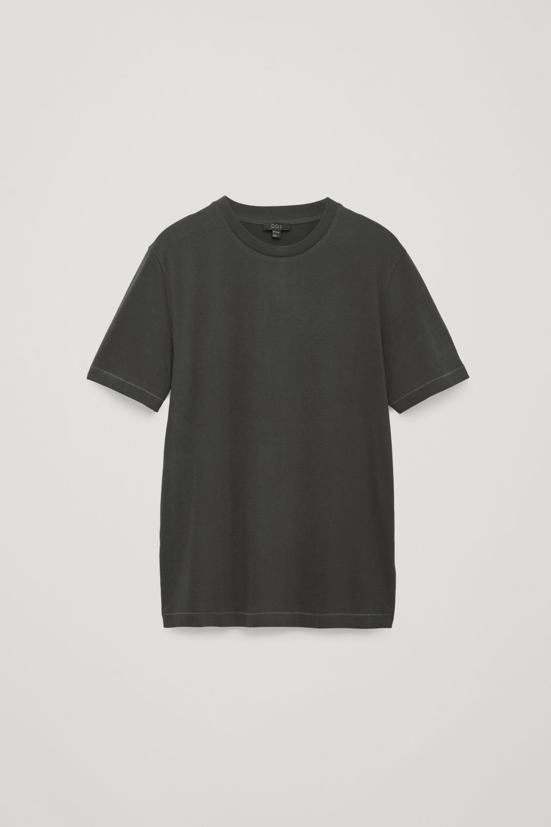 Front image of Cos t-shirt with rib neck in black