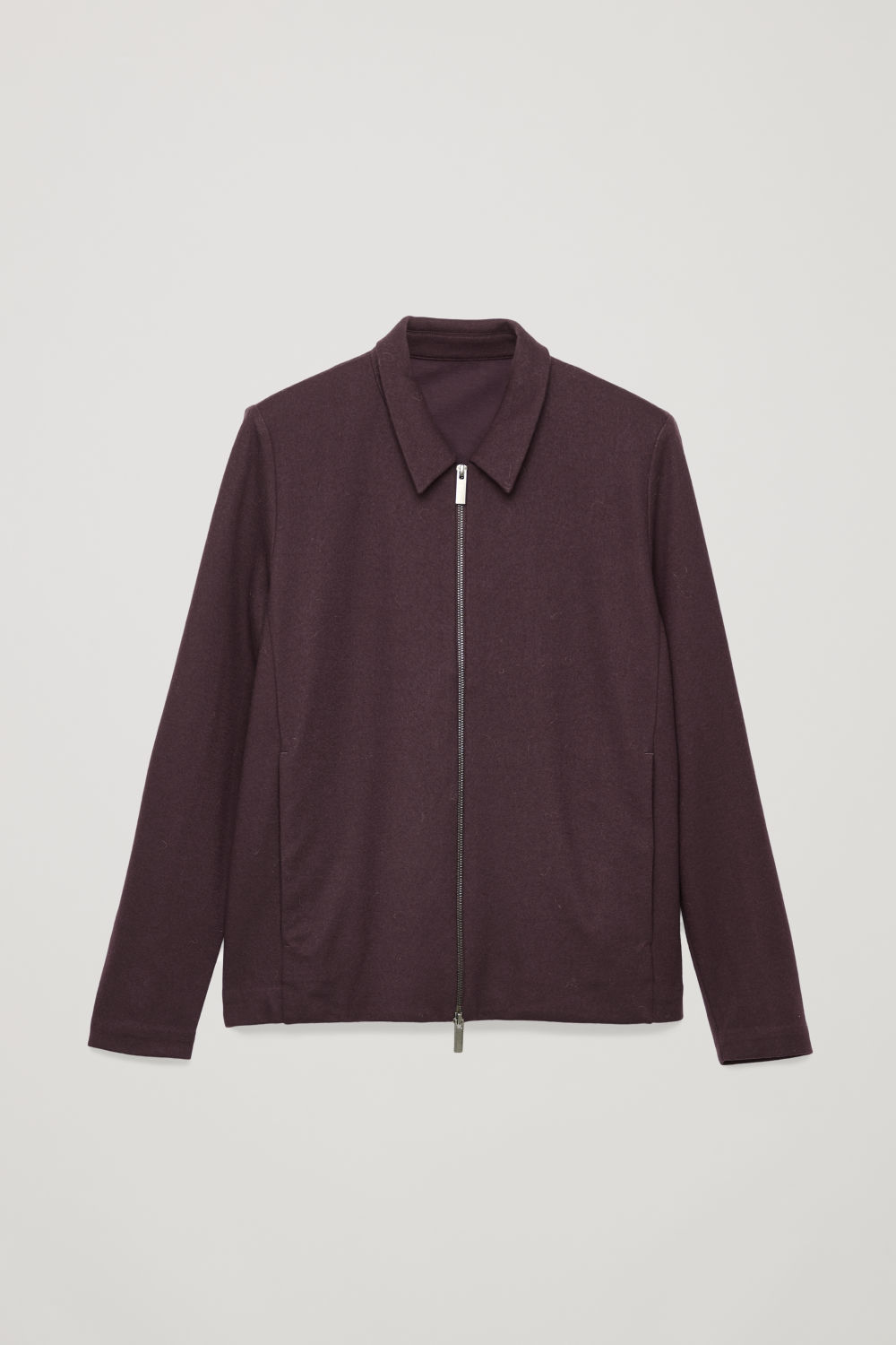 Front image of Cos zip-up wool jacket in red