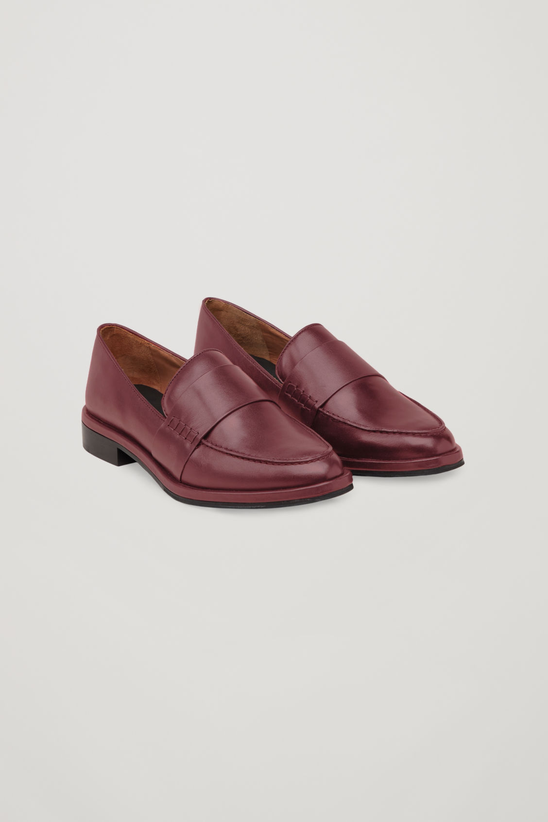 Front image of Cos leather loafers in red