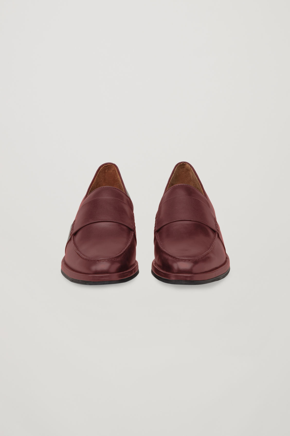 Side image of Cos leather loafers in red