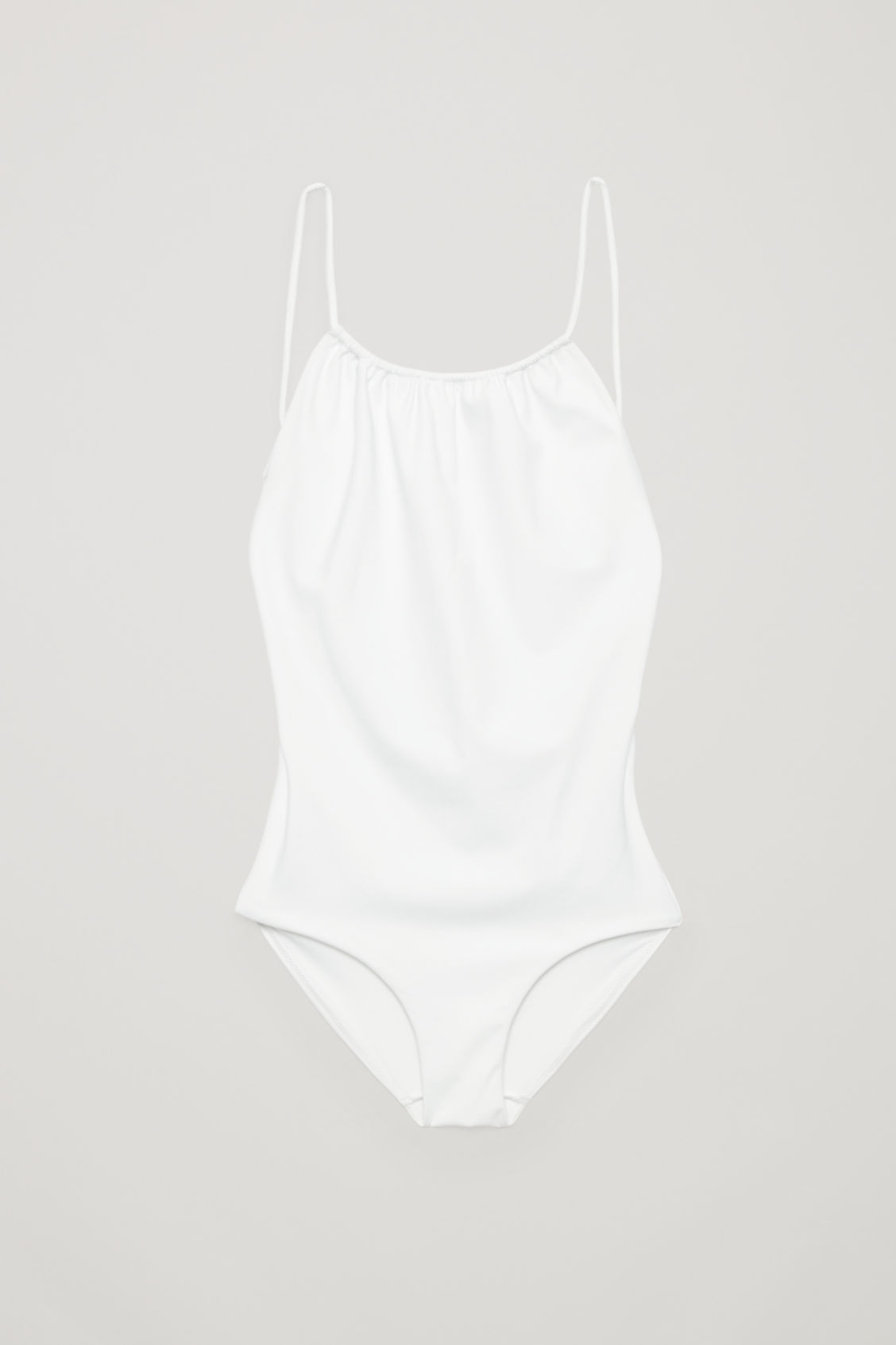 Front image of Cos swimsuit with tie back in white