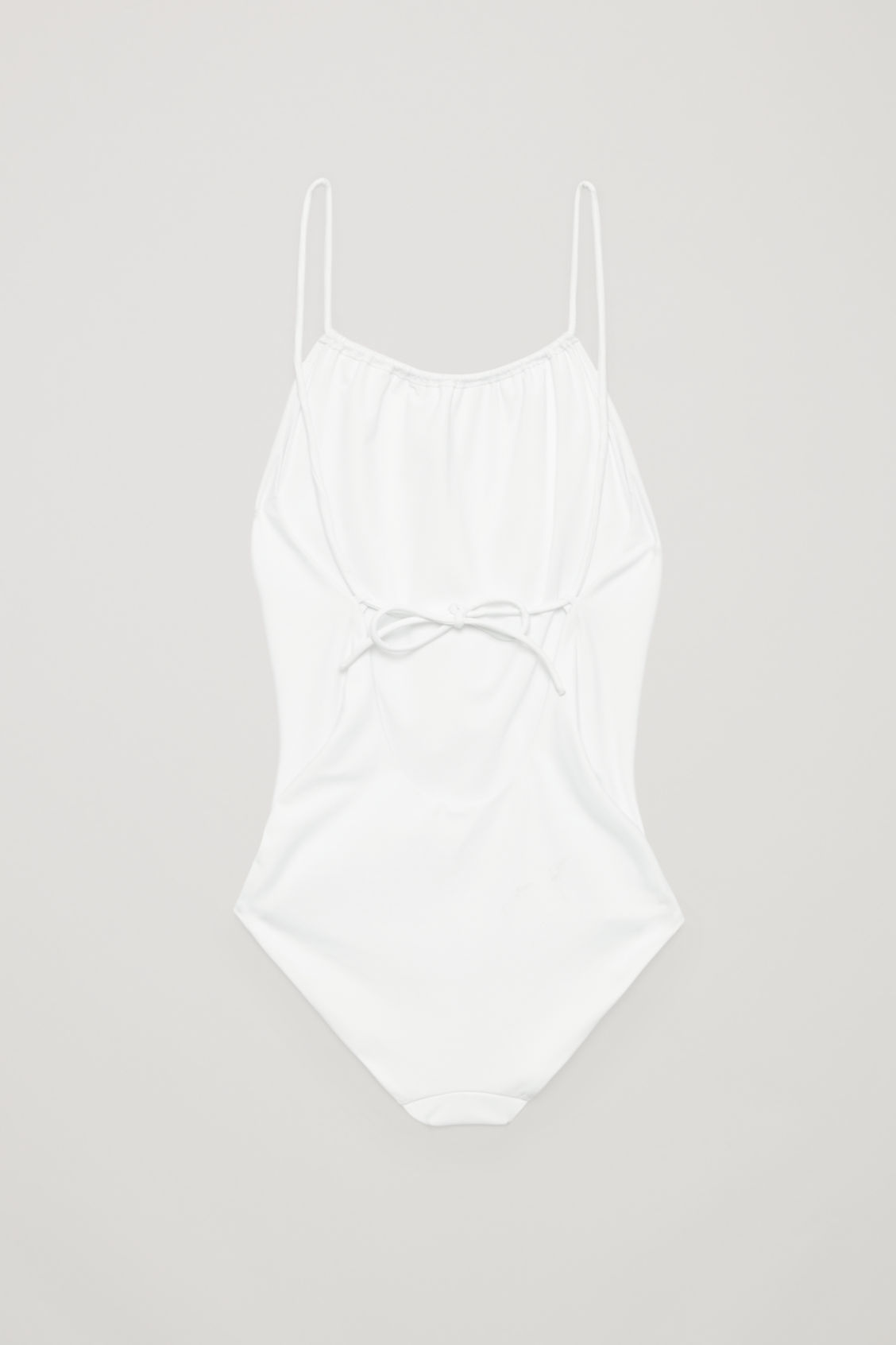 Side image of Cos swimsuit with tie back in white