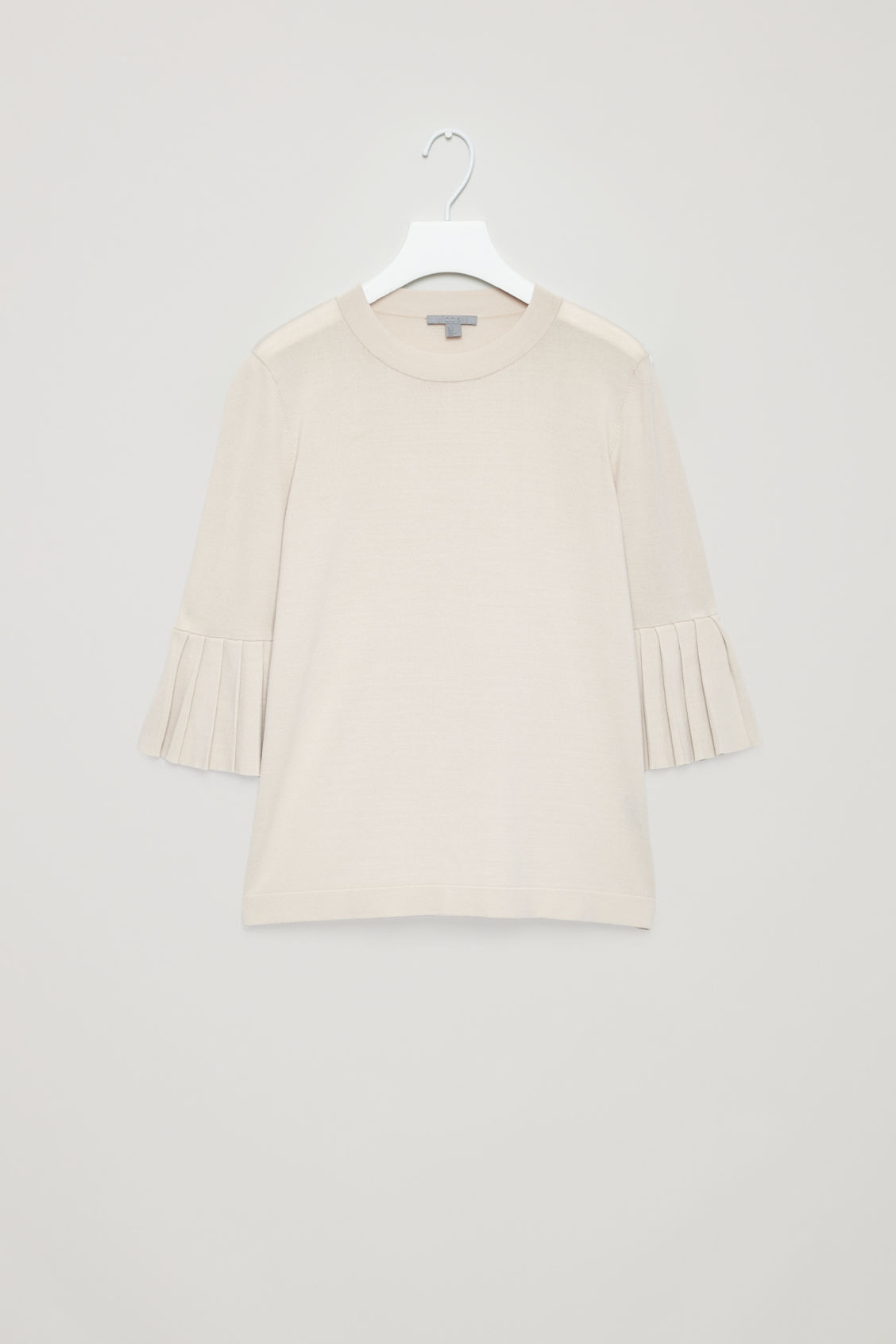 Front image of Cos knitted top with pleated sleeves in beige