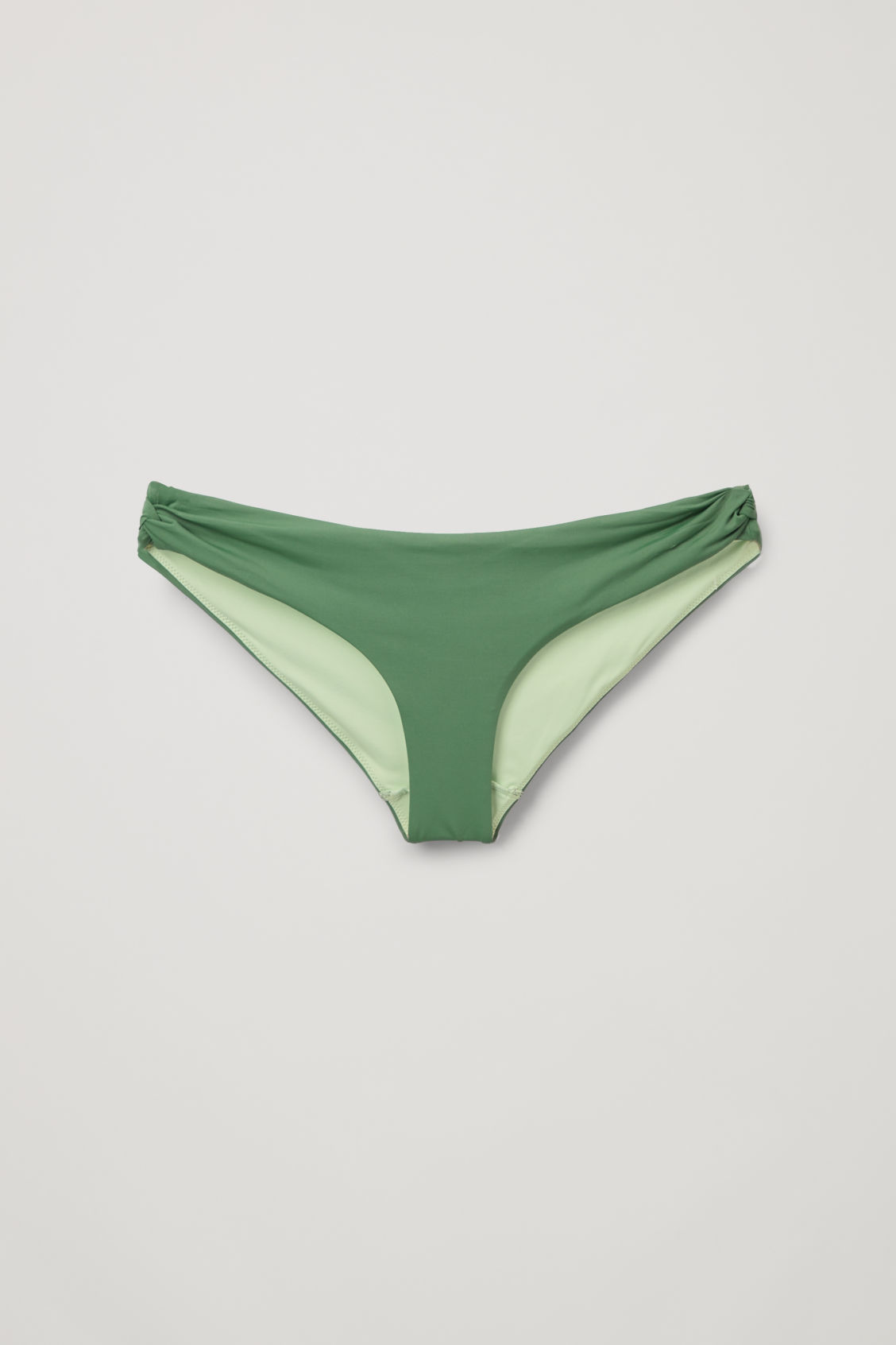 Knotted Bikini Bottoms Dark Green Light Green Swimwear