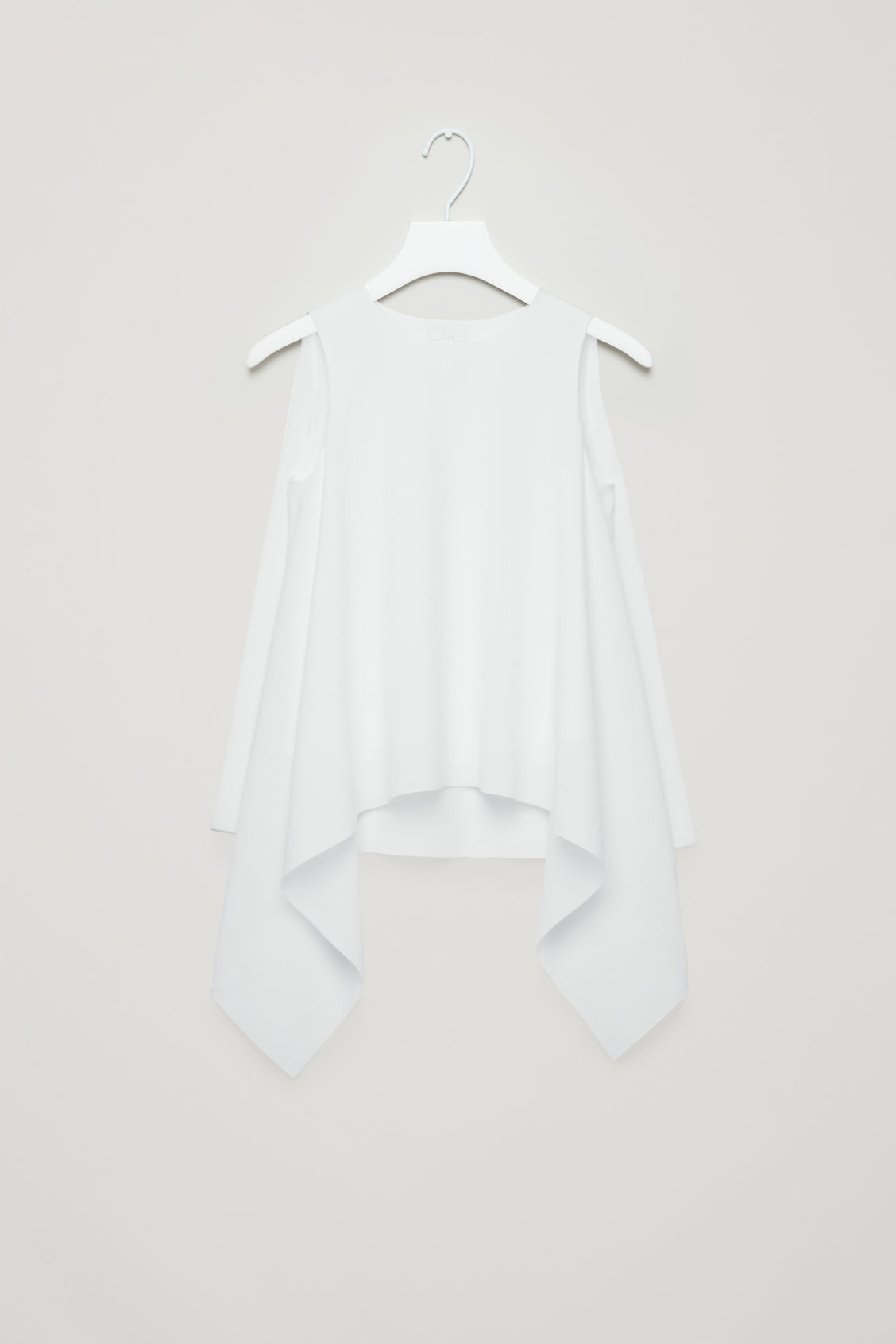 Front image of Cos layered drape top in white