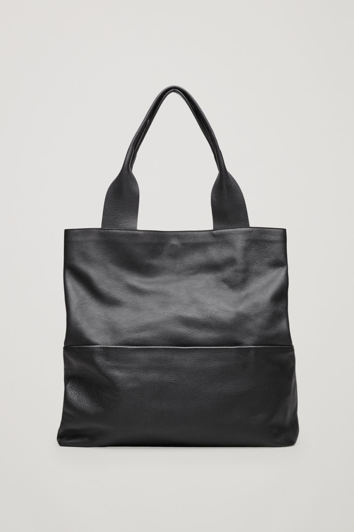 Front image of Cos large grained leather bag in black