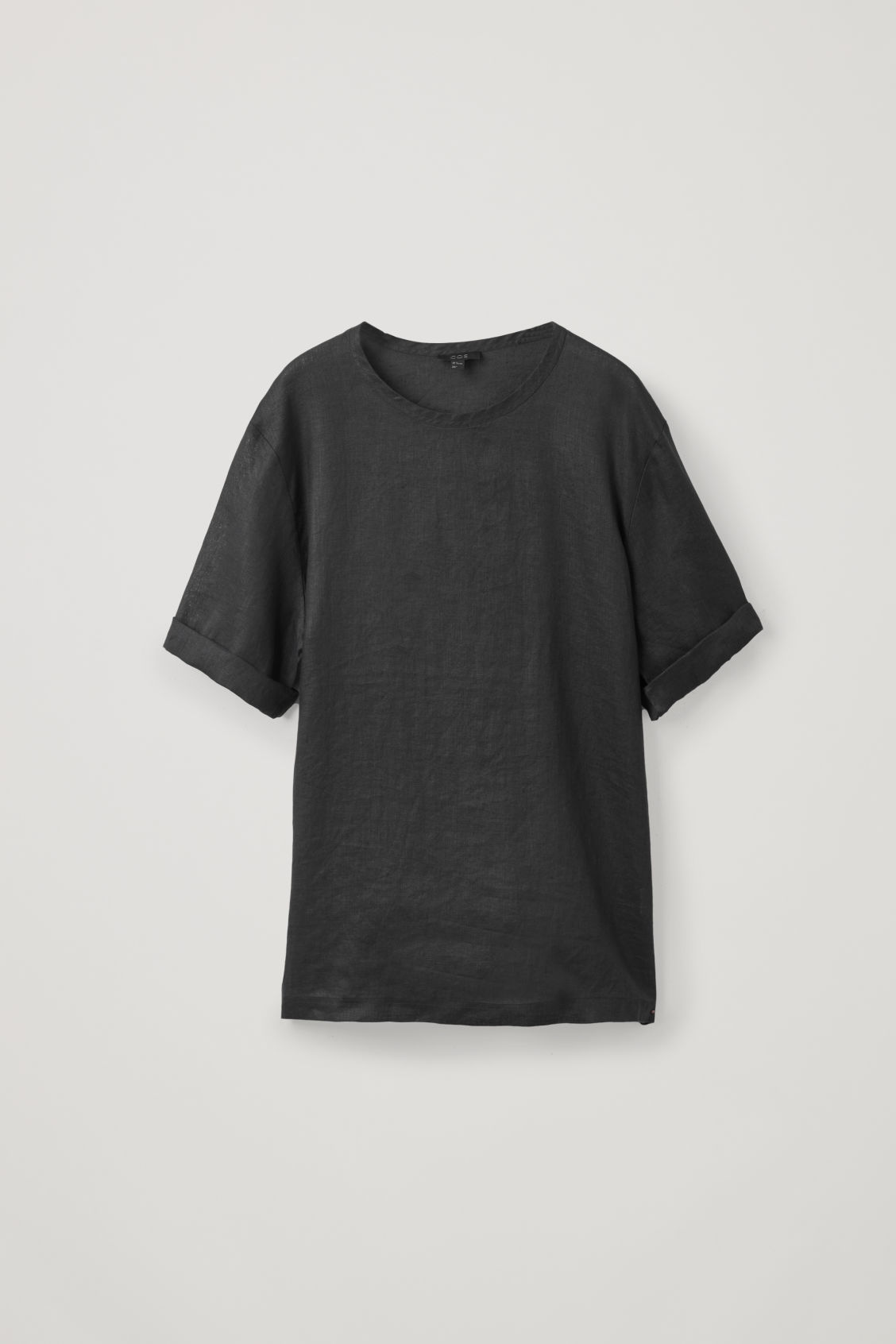 Front image of Cos oversized linen t-shirt in black