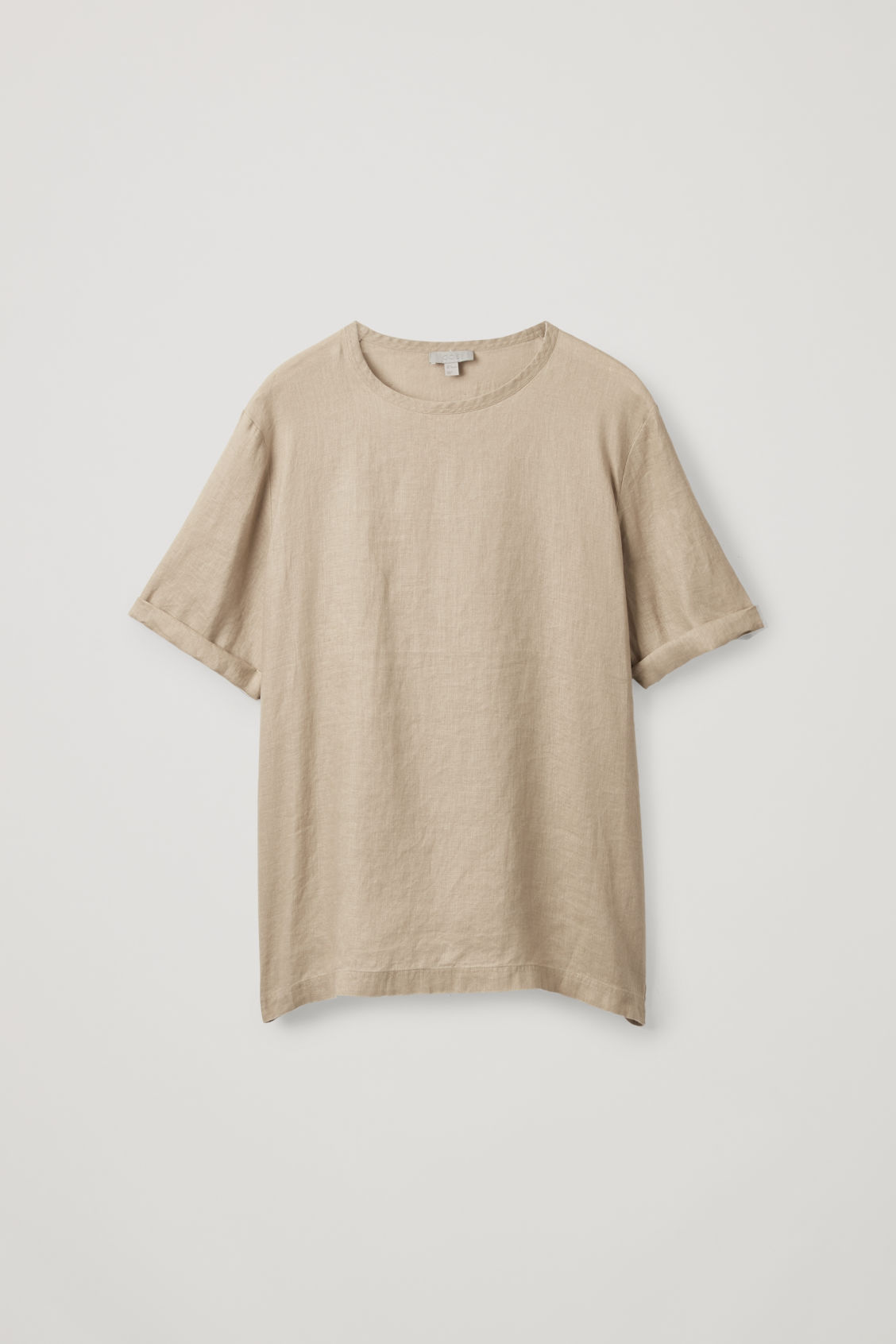 Front image of Cos oversized linen t-shirt in beige