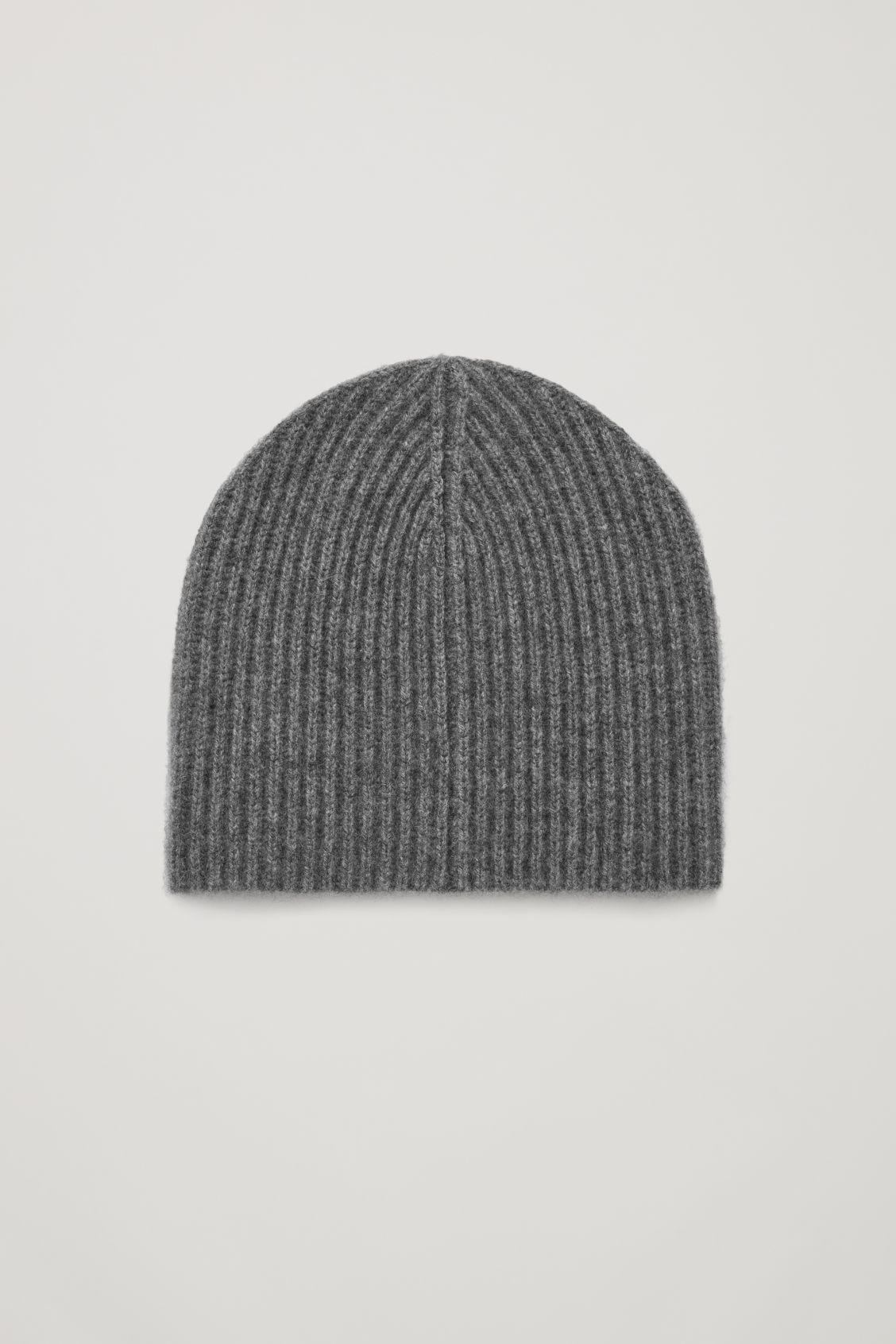 Front image of Cos ribbed cashmere hat in grey