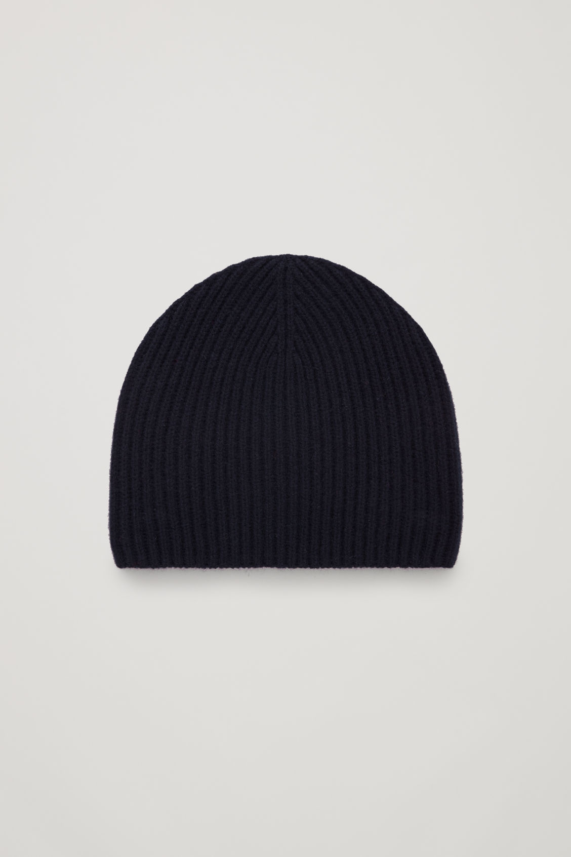 Front image of Cos ribbed cashmere hat in blue