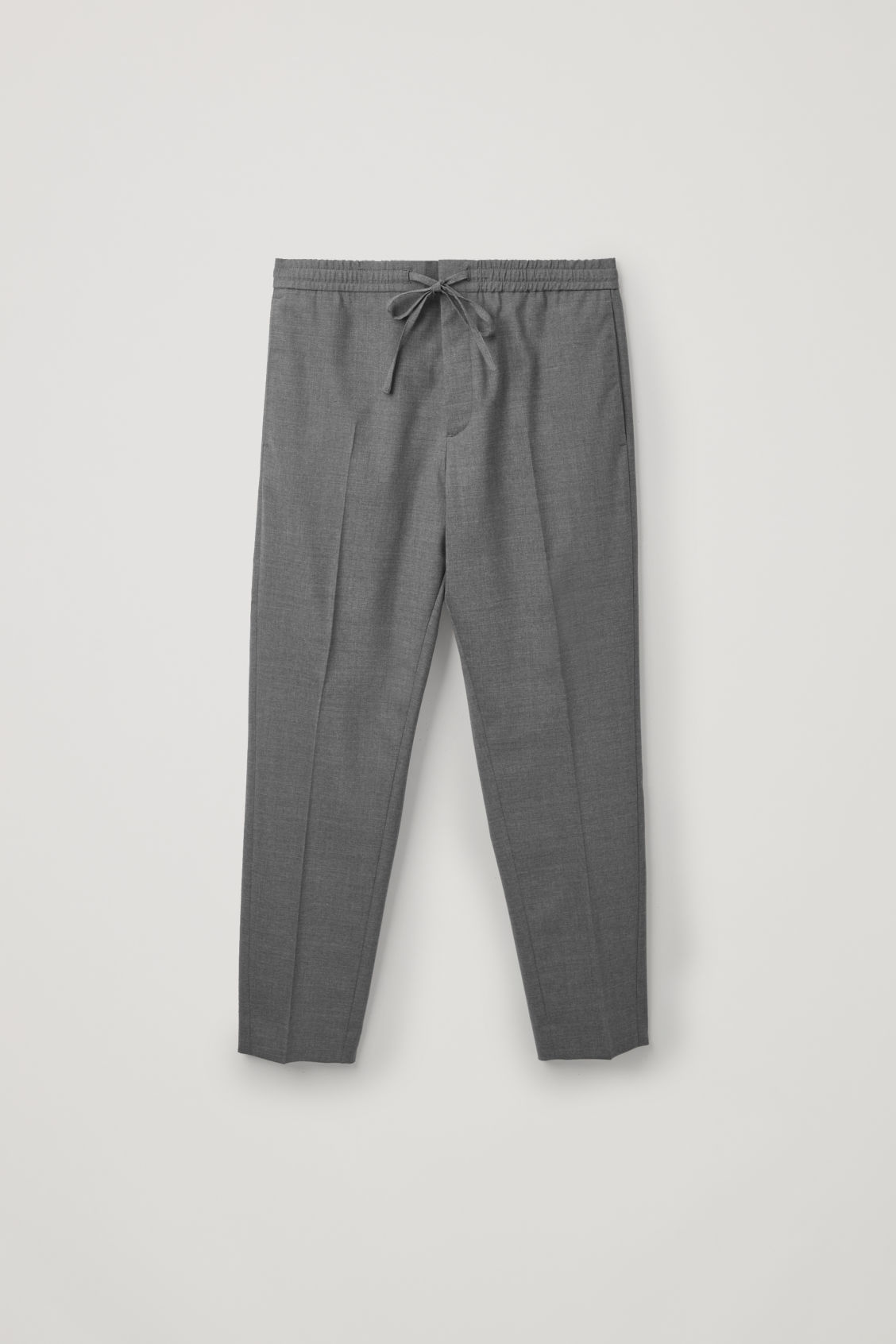 Front image of Cos elasticated slim-fit trousers in grey