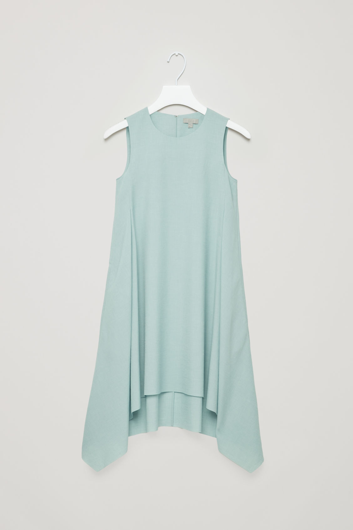 Front image of Cos layered drape dress in green