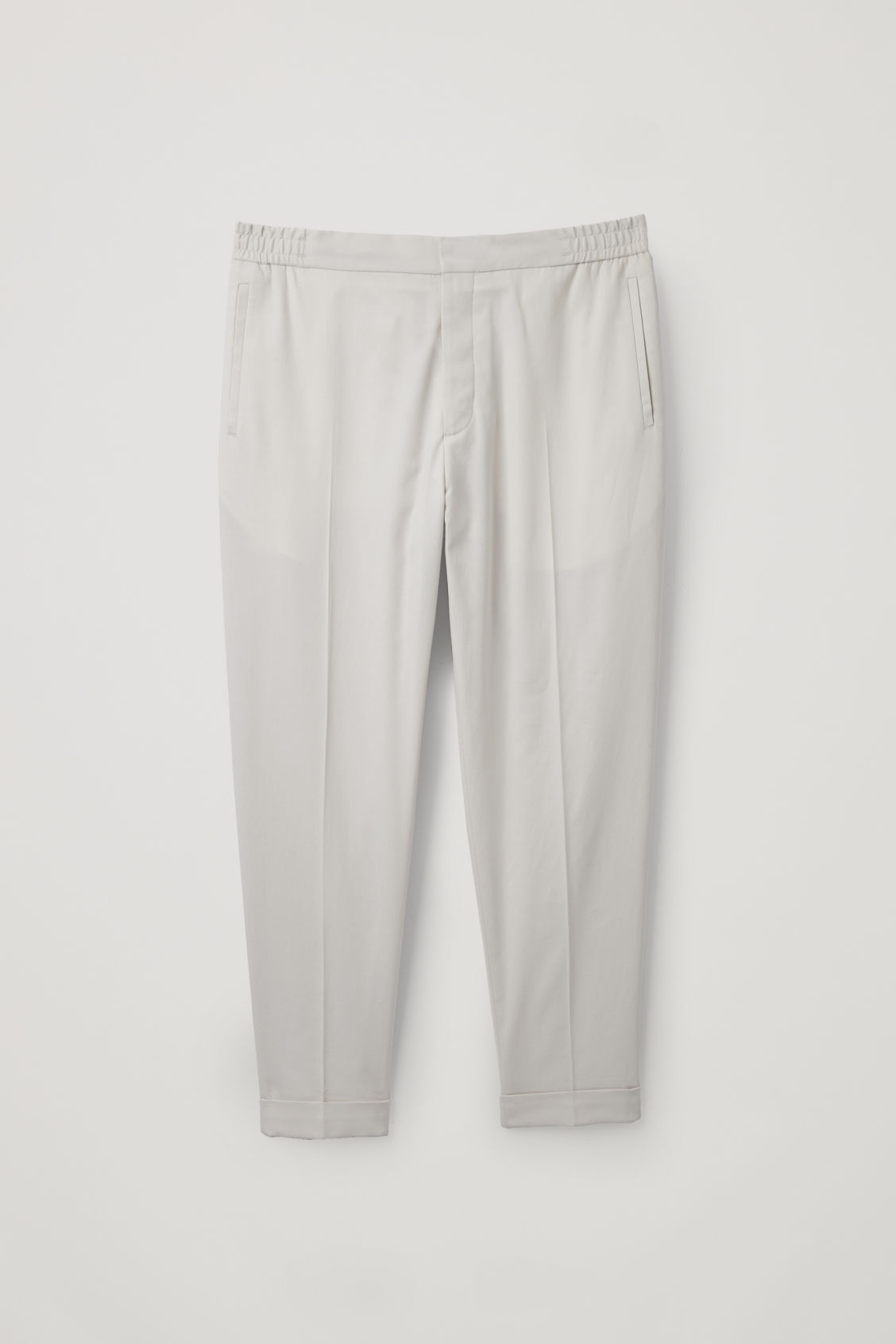Front image of Cos relaxed turn-up trousers in beige
